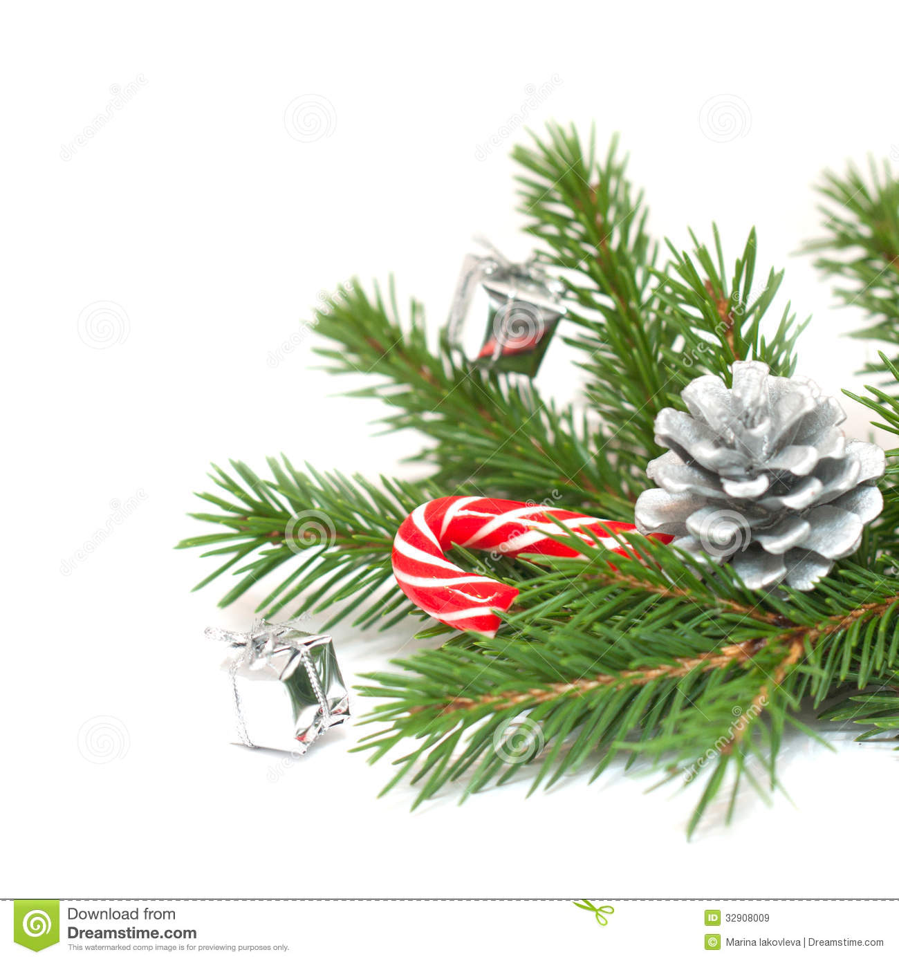 Christmas Tree Branches And Decorations Stock Image Image Of