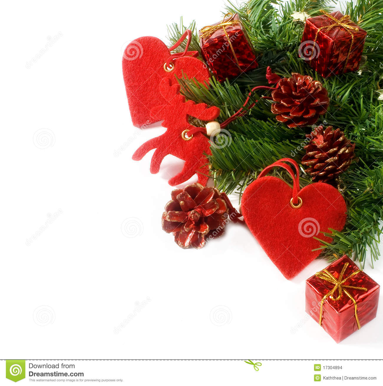 Christmas Tree Branches And Decorations Isolated Stock