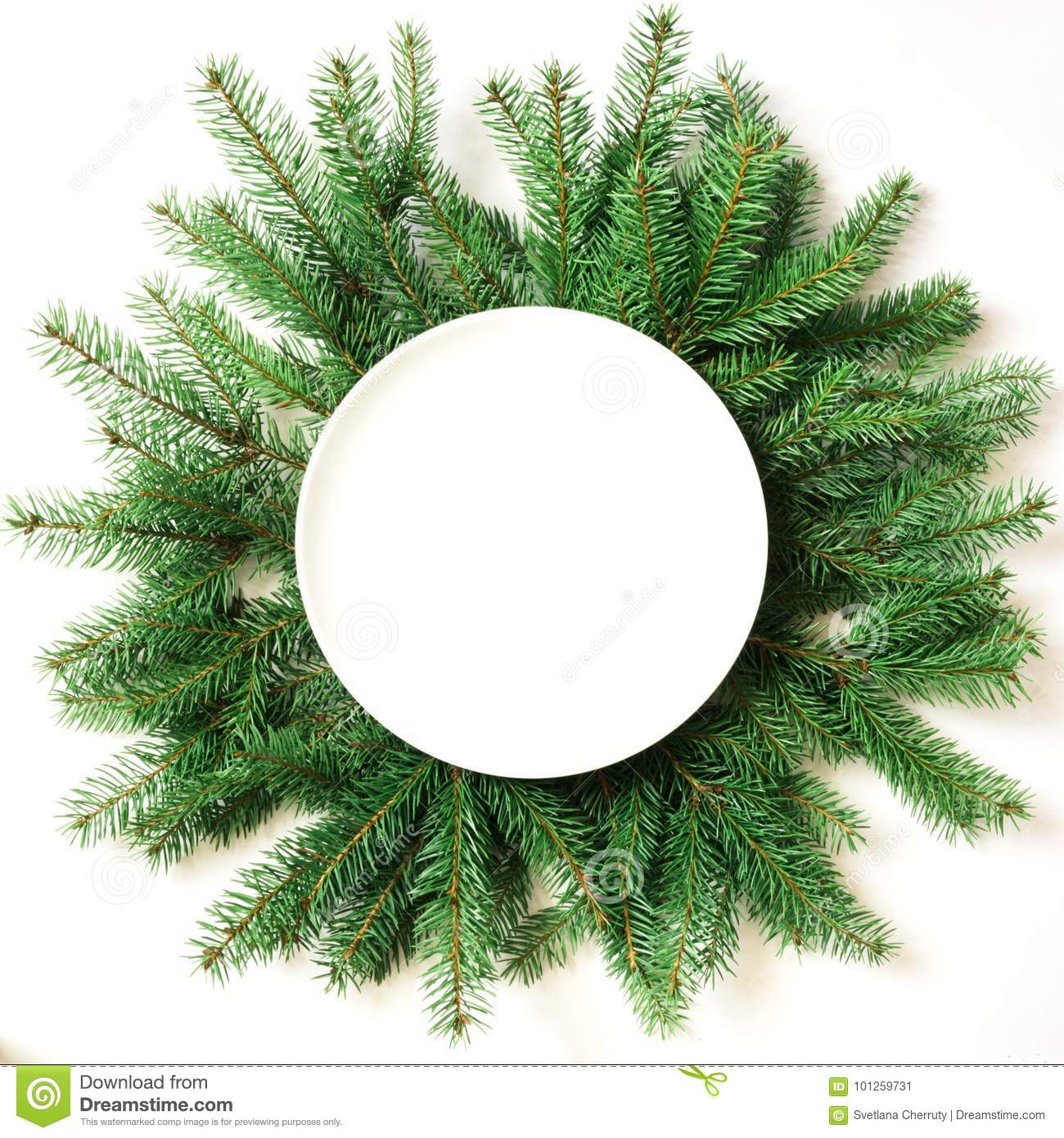 Christmas Tree Top View.Christmas Tree Branches With Empty Plate On White Background