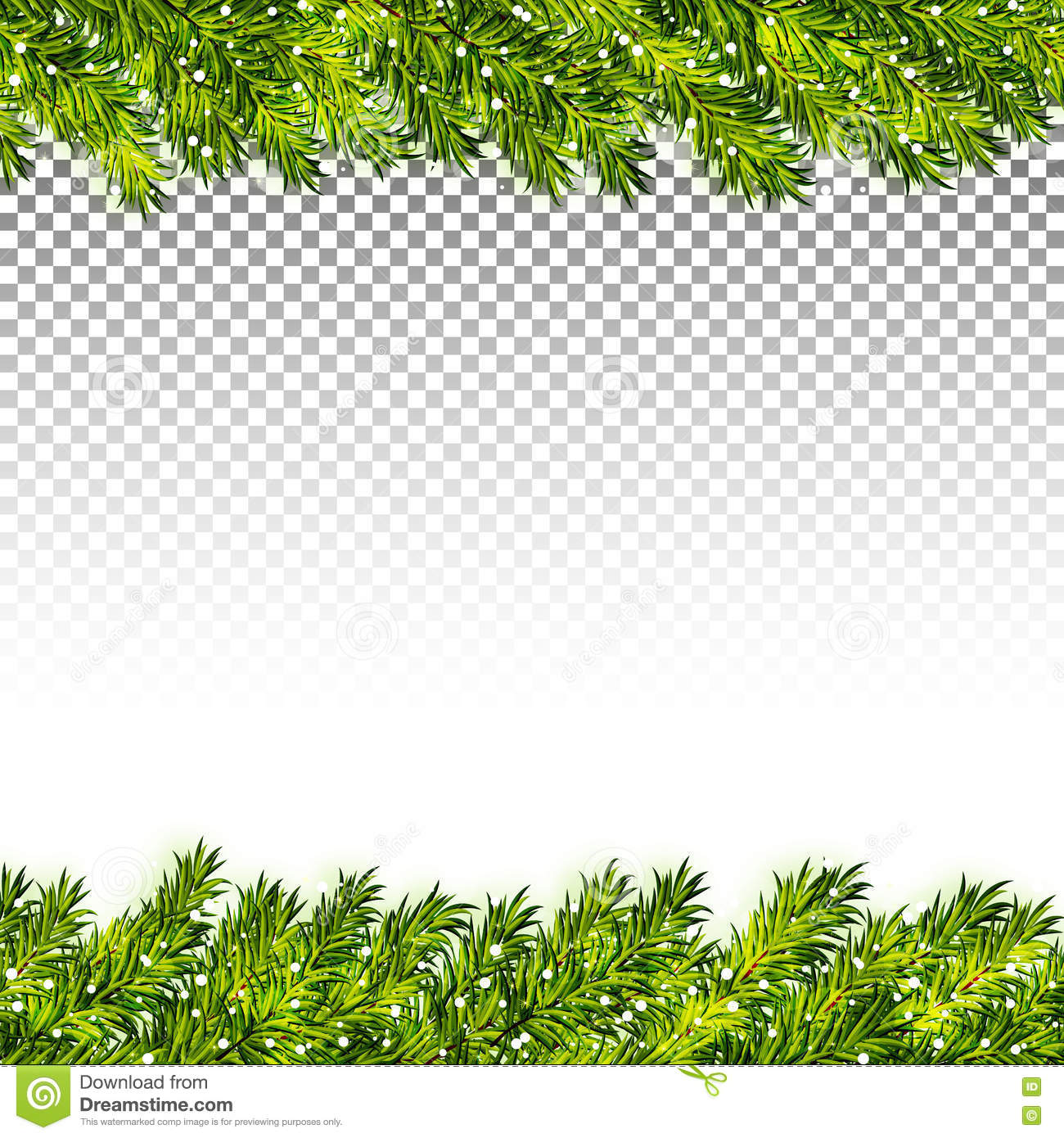 christmas tree branches frame on transparent background vector - Christmas Transparent