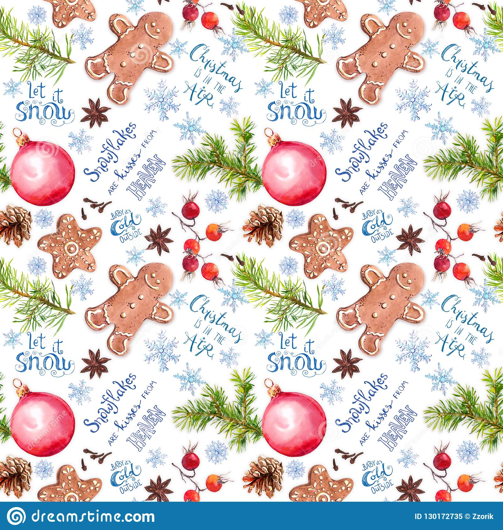 Christmas Tree Branches Ginger Cookies Baubles Snow Flakes And