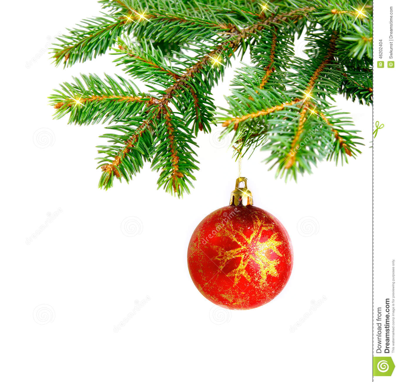 Christmas Tree Branches And Decorations Isolated Stock ...