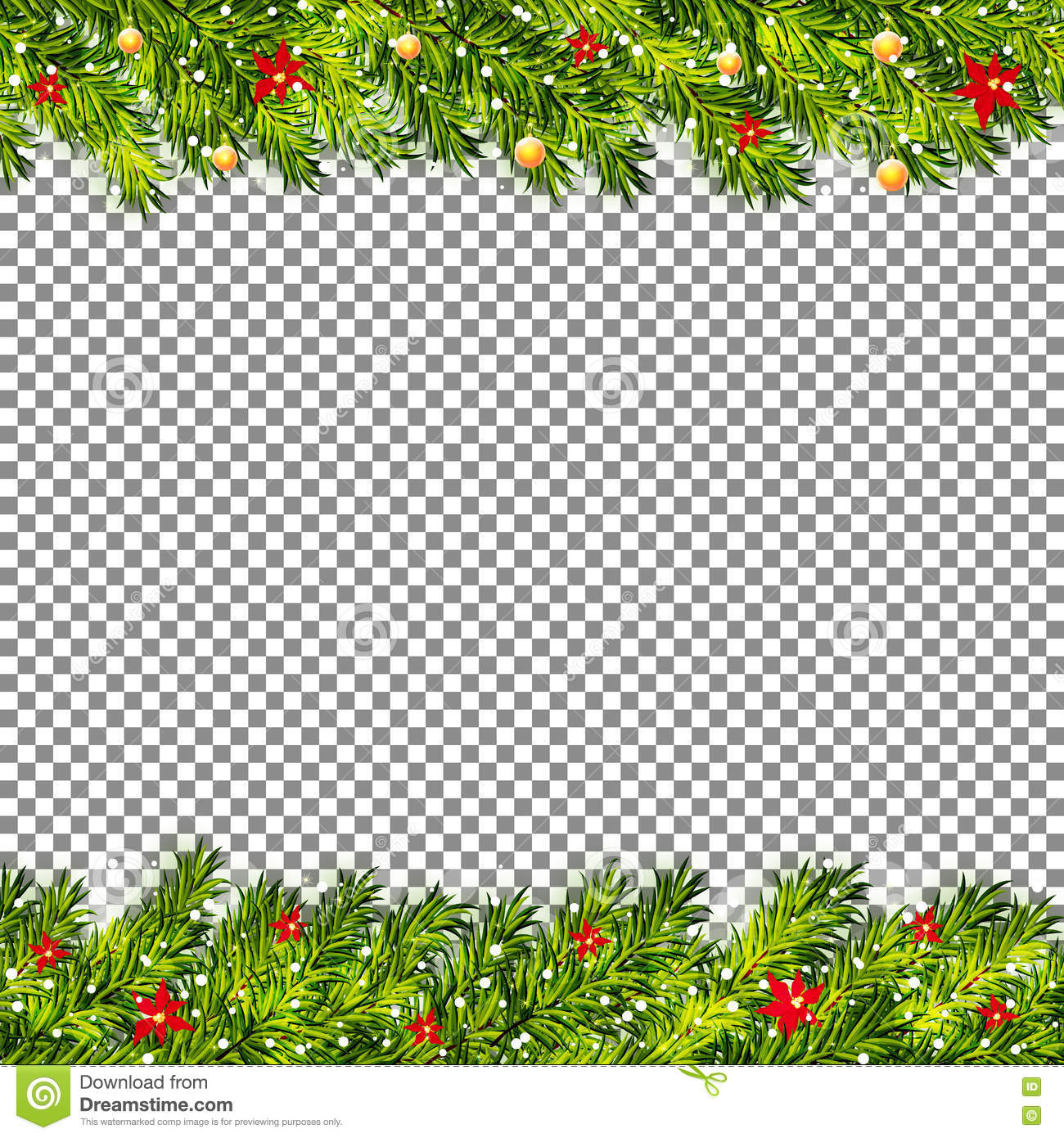 christmas tree branches on transparent background vector - Christmas Tree Transparent