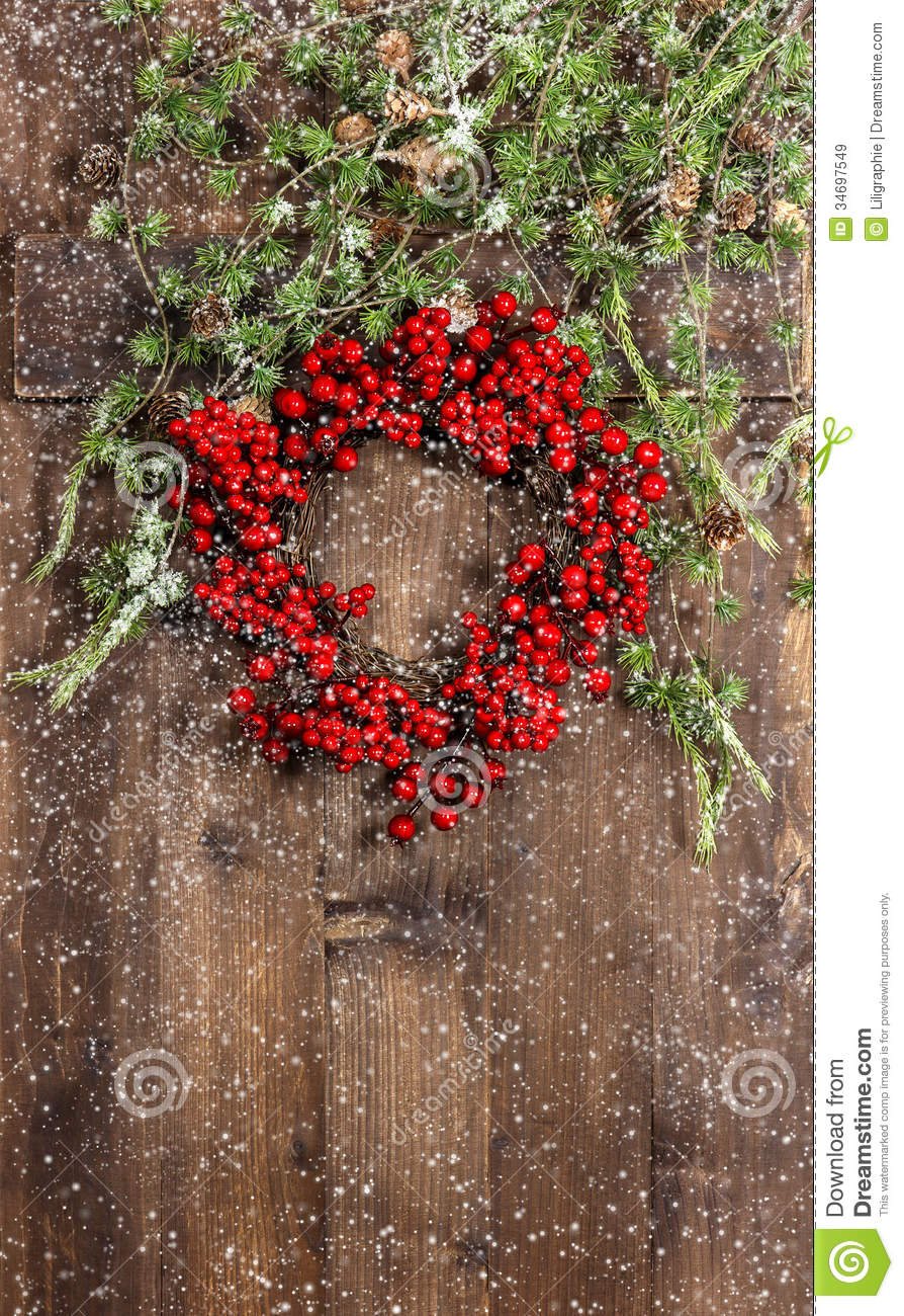 Christmas Tree Branches And Wreath From Red Berries Royalty Free Stock ...