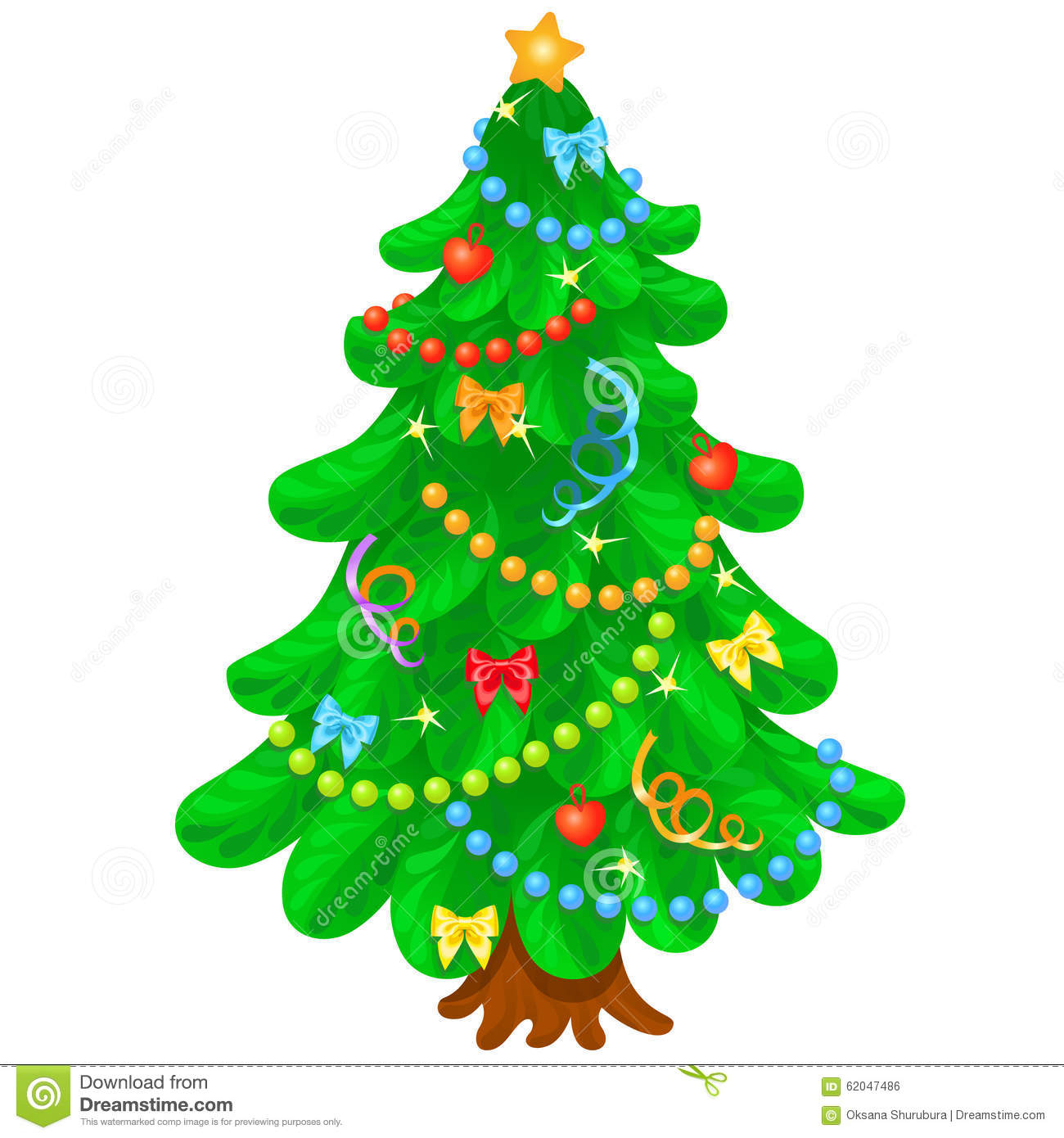 christmas tree with bright toys in white background stock. Black Bedroom Furniture Sets. Home Design Ideas