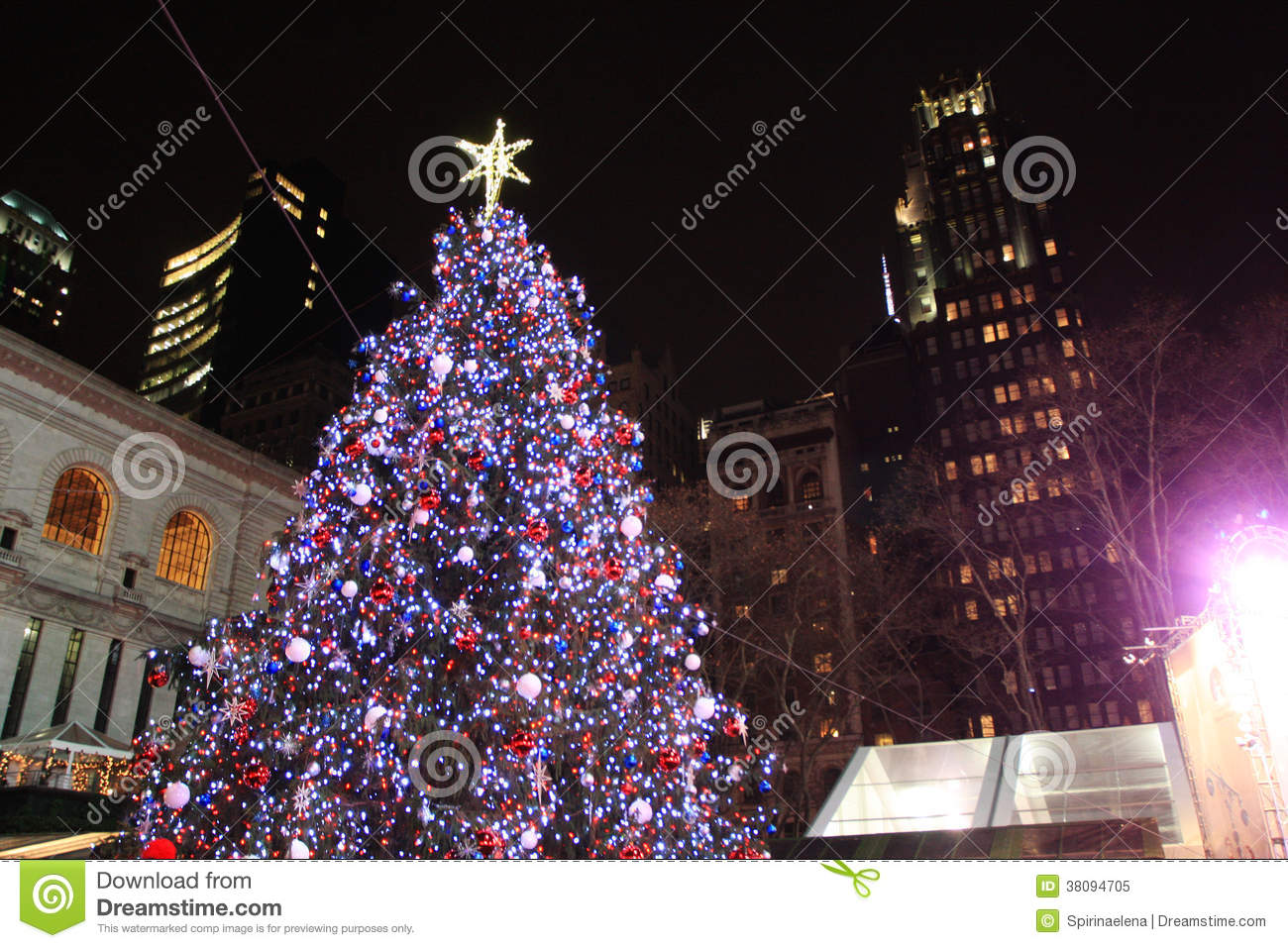Christmas Tree In Bryant Park New York Editorial Image