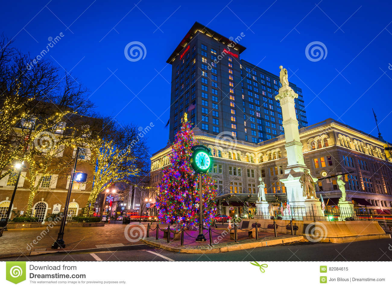 Christmas Tree And Buildings At Penn Square At Night, In ...