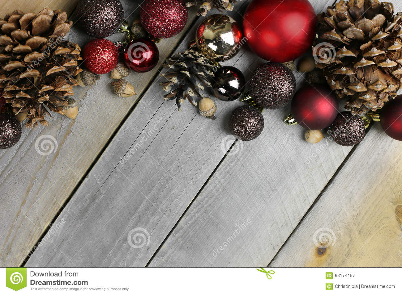 Christmas Tree Bulbe Decorations Frame Rustic Wood Background Stock Image Image Of Wood Background 63174157
