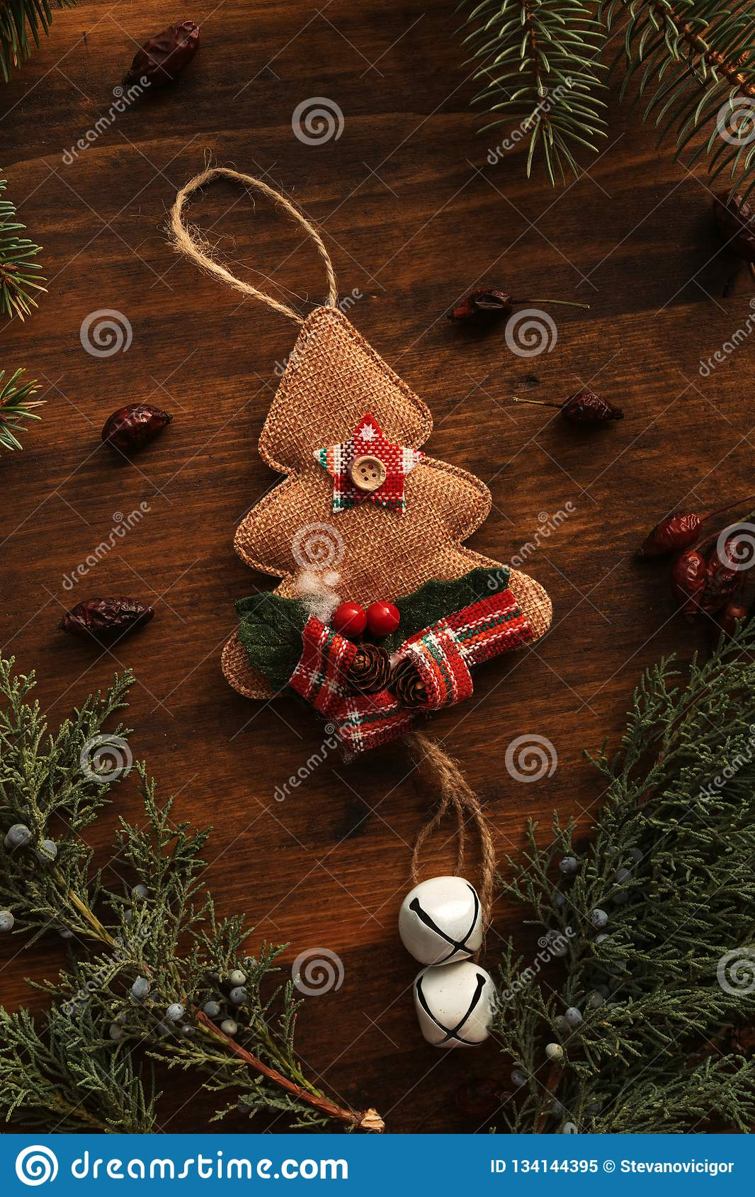 Christmas Tree Burlap Decoration Stock Image Image Of Christmas Merry 134144395