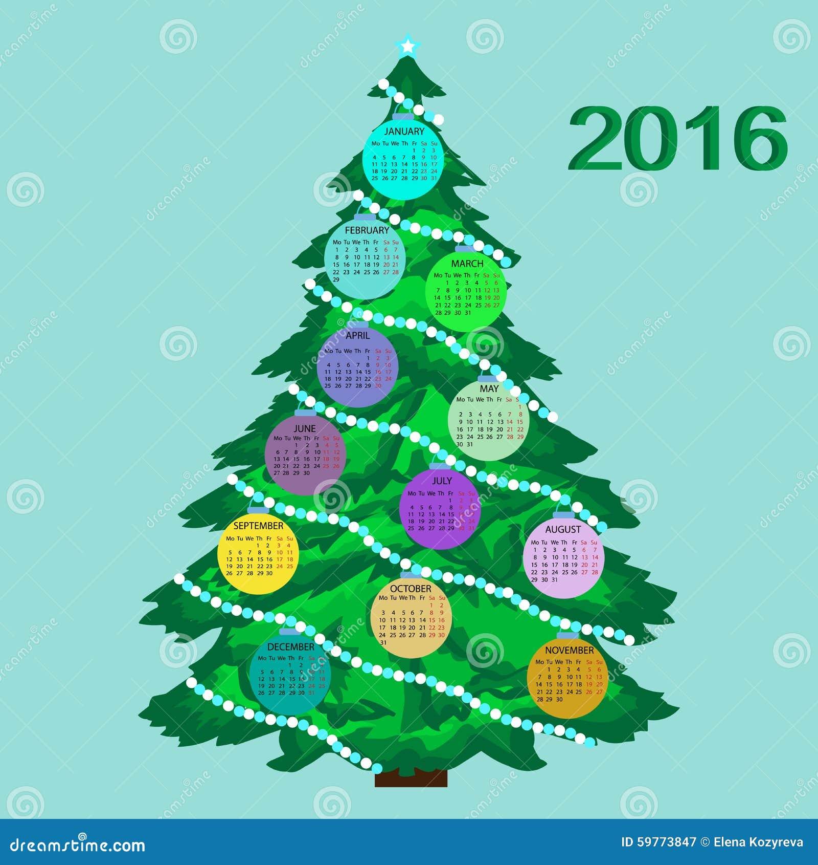 Home Design Editorial Calendar 2016: Christmas Tree Calendar 2016 New Year Stock Illustration