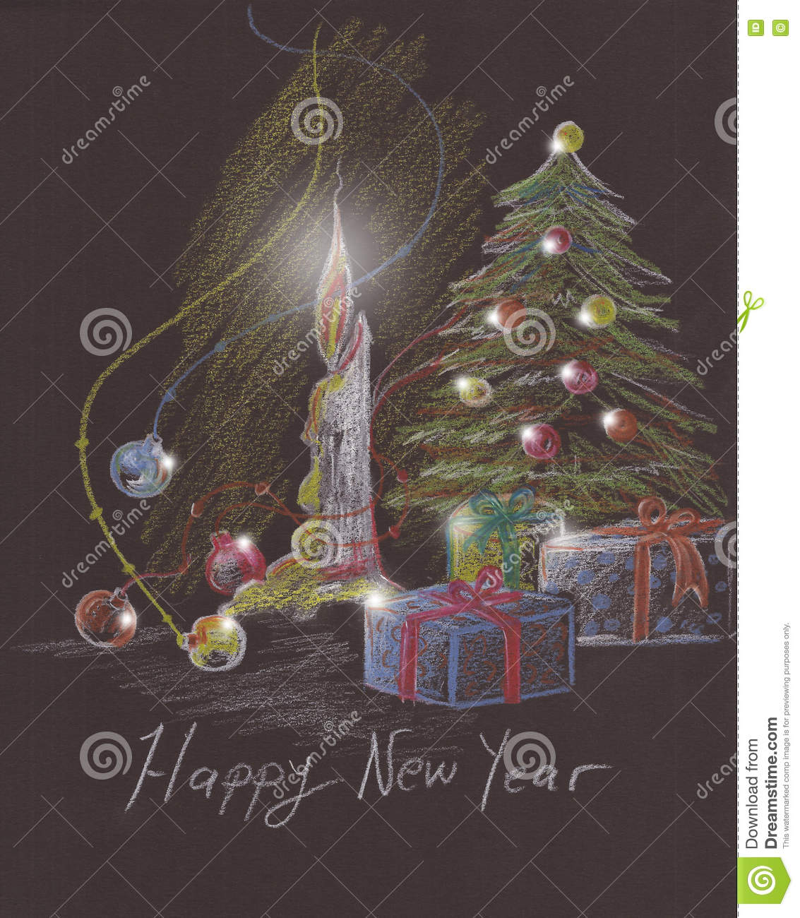 Pencil drawing happy new year card design with lights on pine tree globes boxes and fire of candle sketch on black