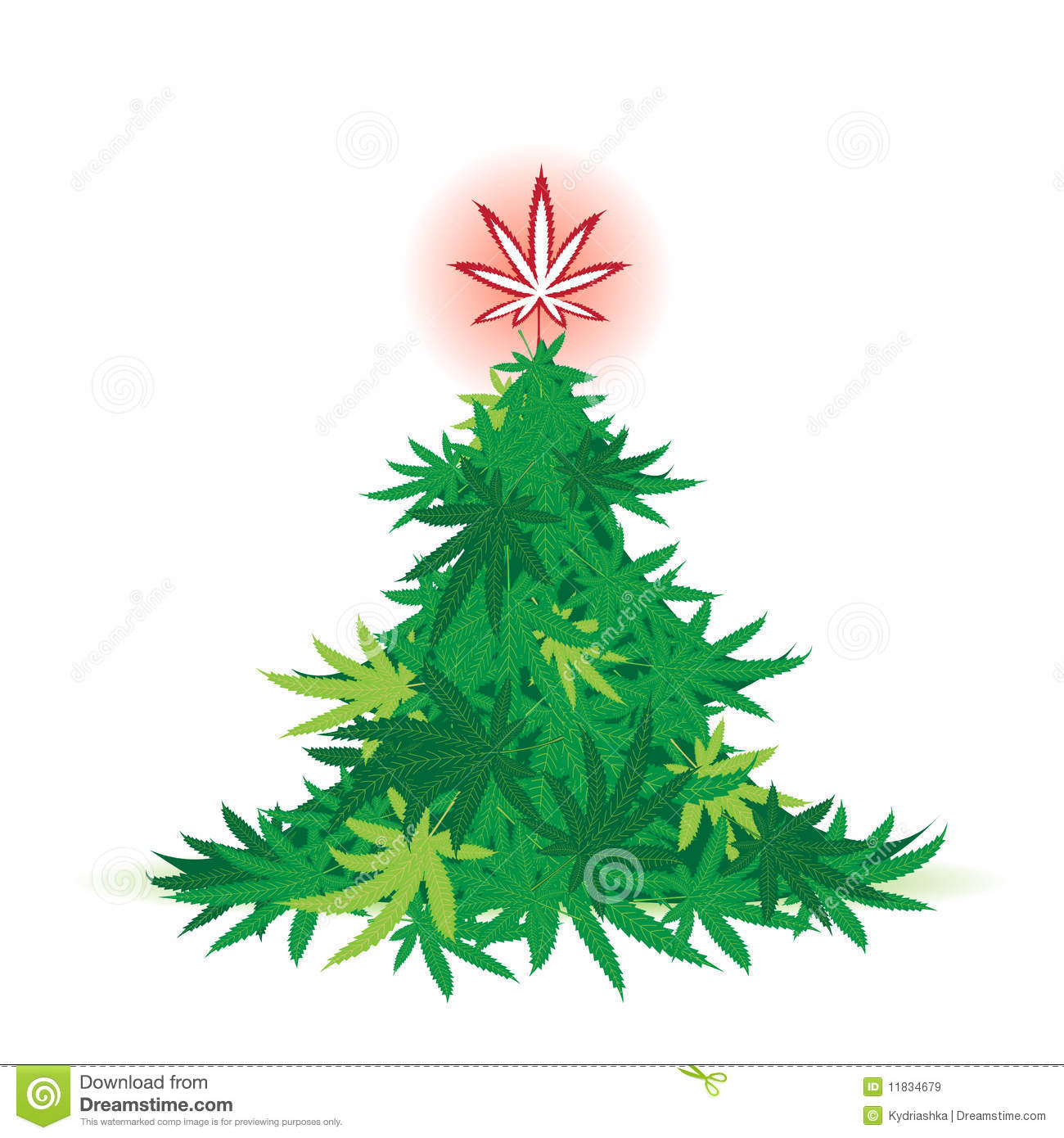 Christmas Tree Cannabis Leaf Royalty Free Stock Images