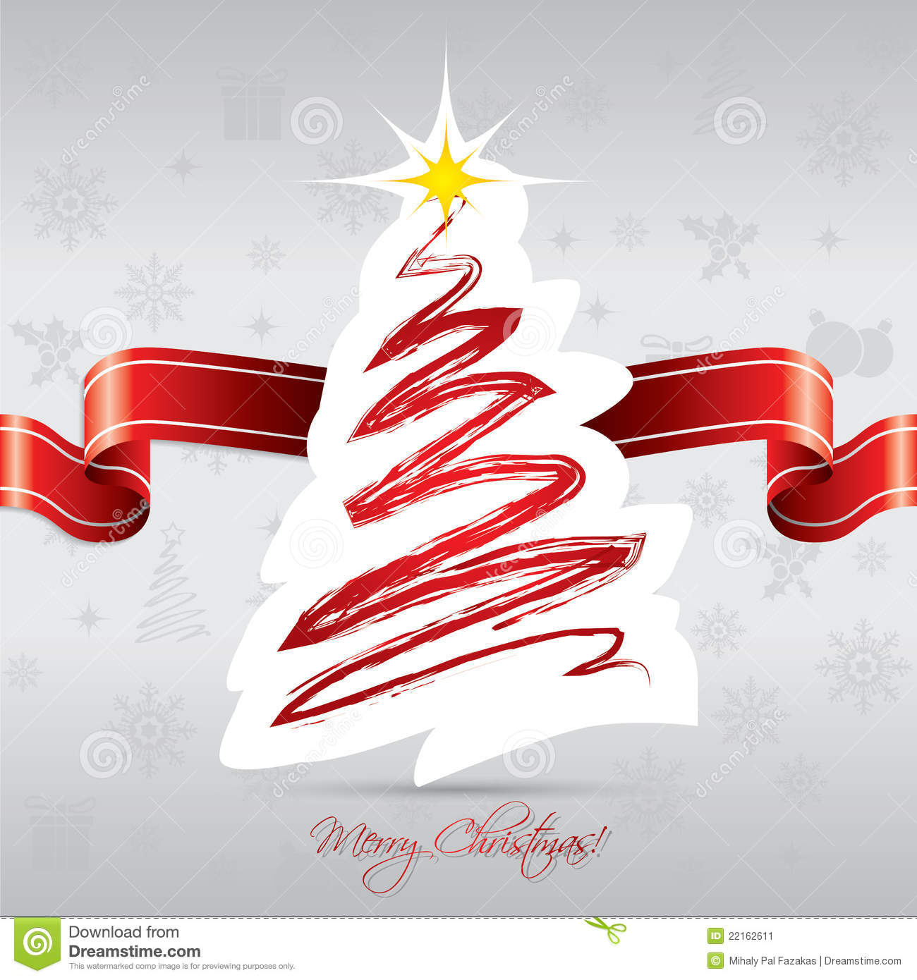 Christmas Tree With Red Ribbon: Christmas Tree Card With Red Ribbon Stock Vector