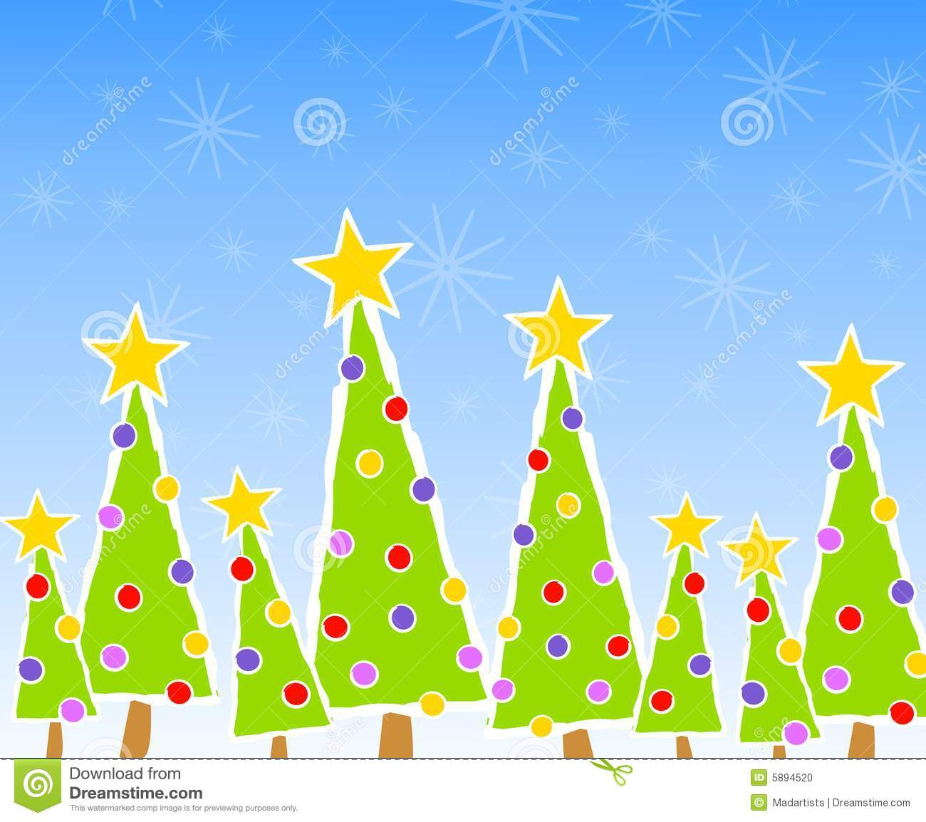 clip art illustration of a christmas tree scene with snow and ...