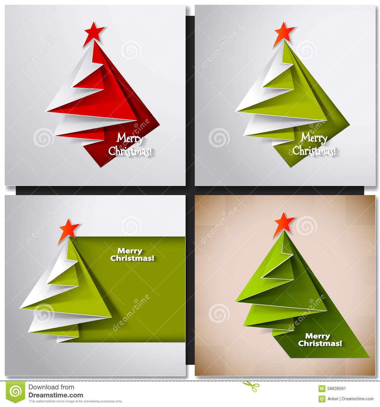 Christmas Tree Card. Vector Origami Stock Vector ... - photo#27