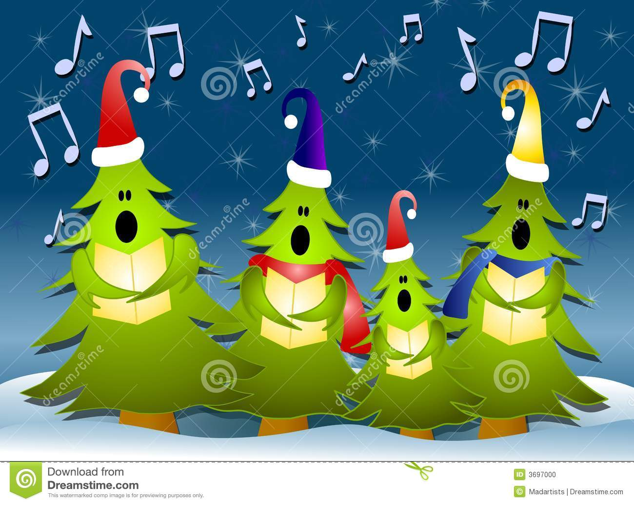Christmas Singing Images.Christmas Tree Carolers Singing In Snow Stock Illustration