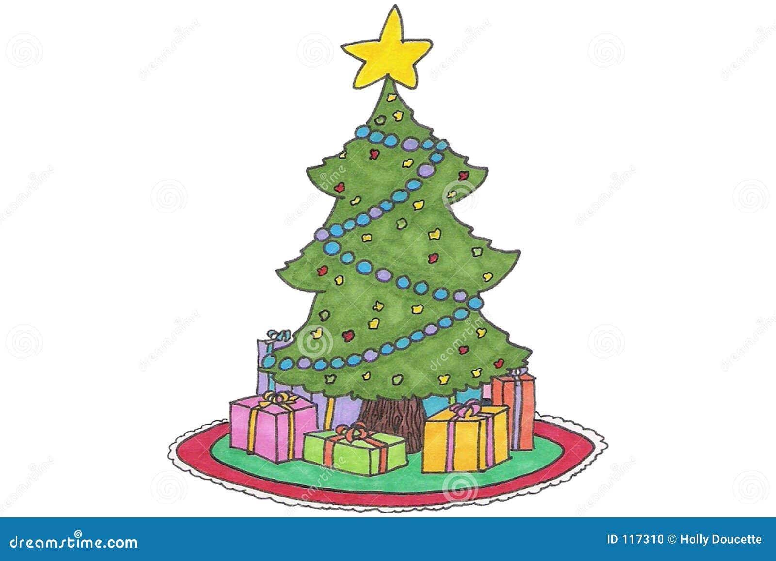 Christmas TRee cartoon stock illustration. Illustration of decorated ...