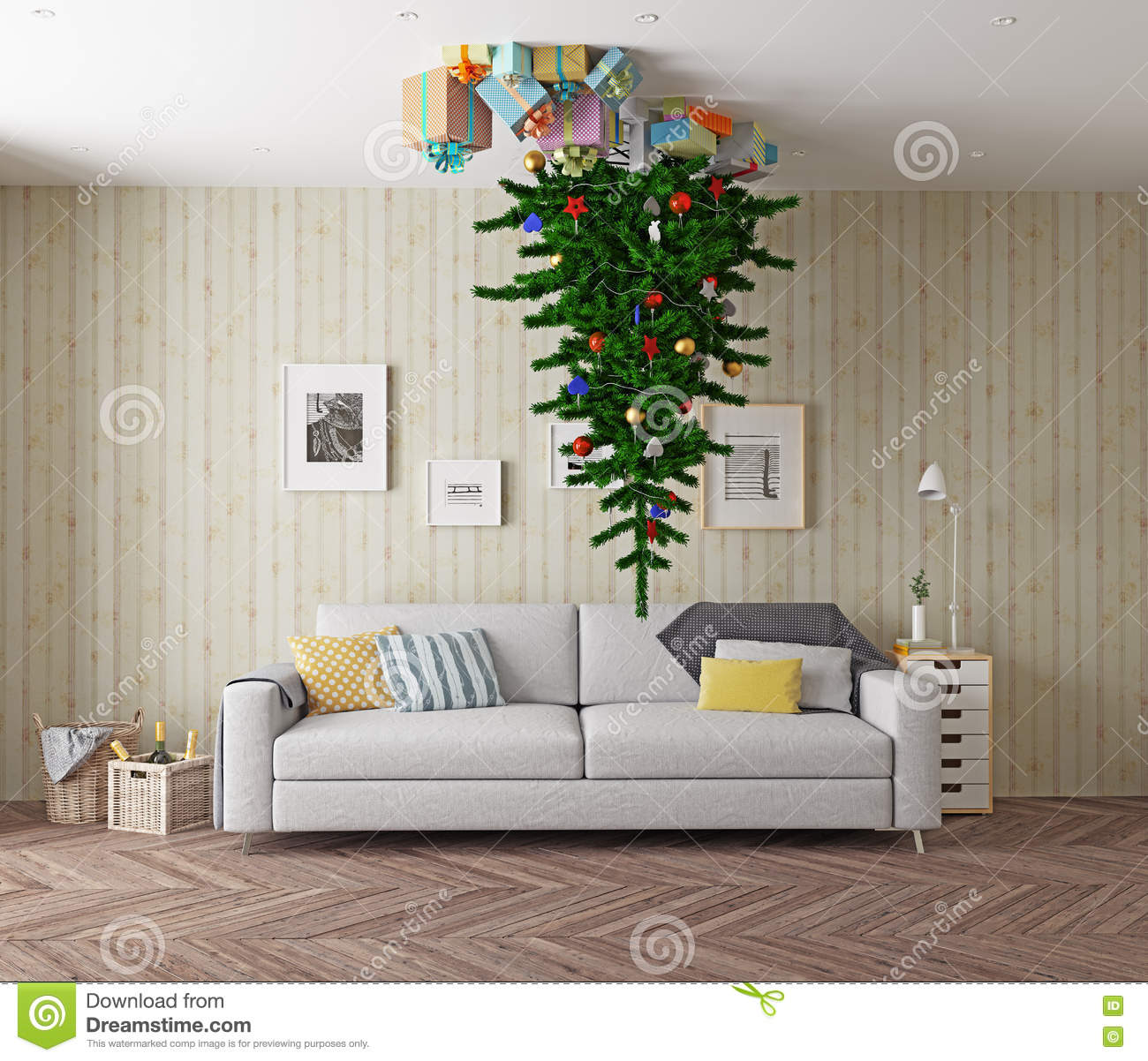 Christmas Tree On The Ceiling Stock Illustration