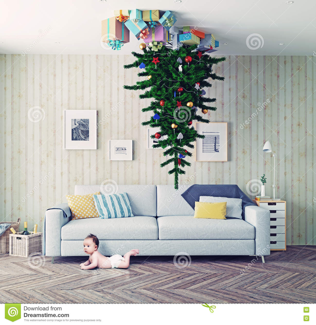 Christmas tree on the ceiling stock illustration image