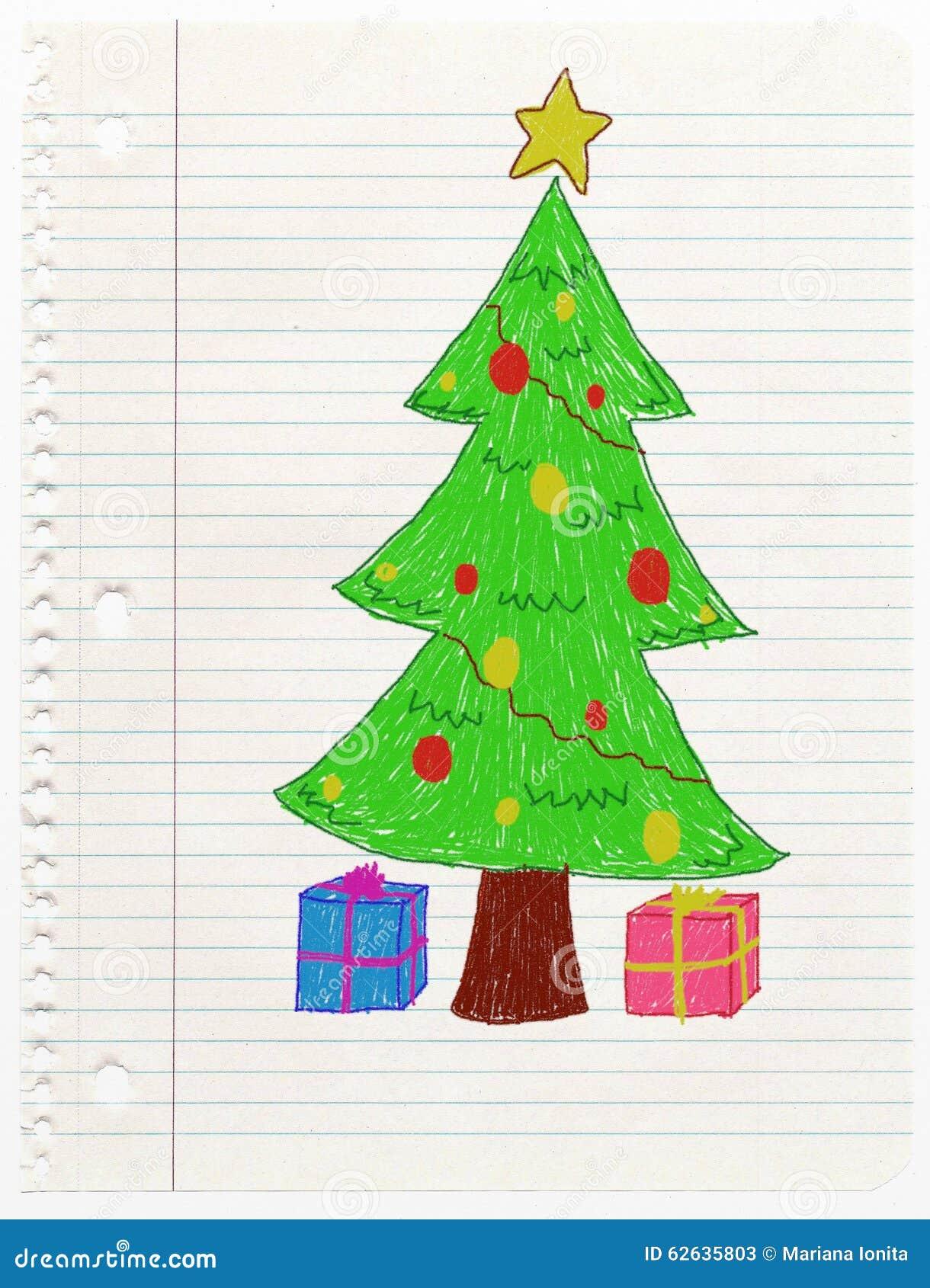 Christmas Tree- Child Drawing Stock Illustration - Image ...