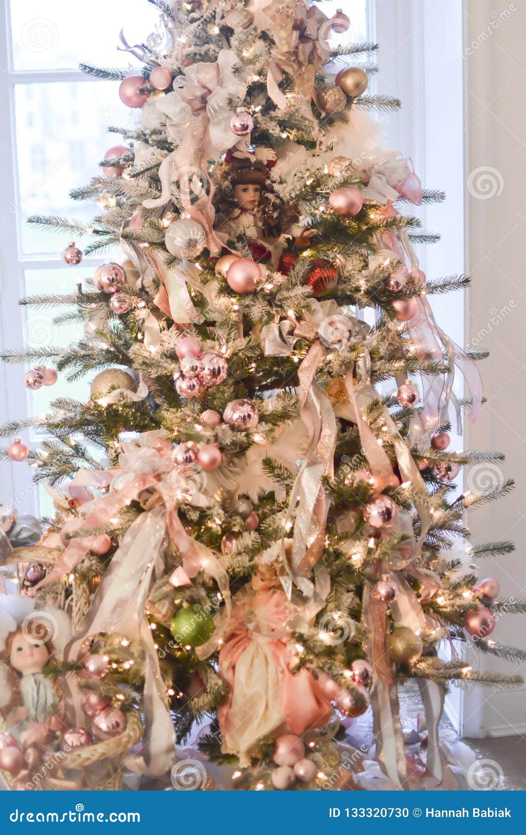 Christmas Tree With China Dolls Stock Photo Image Of Gift Toys 133320730