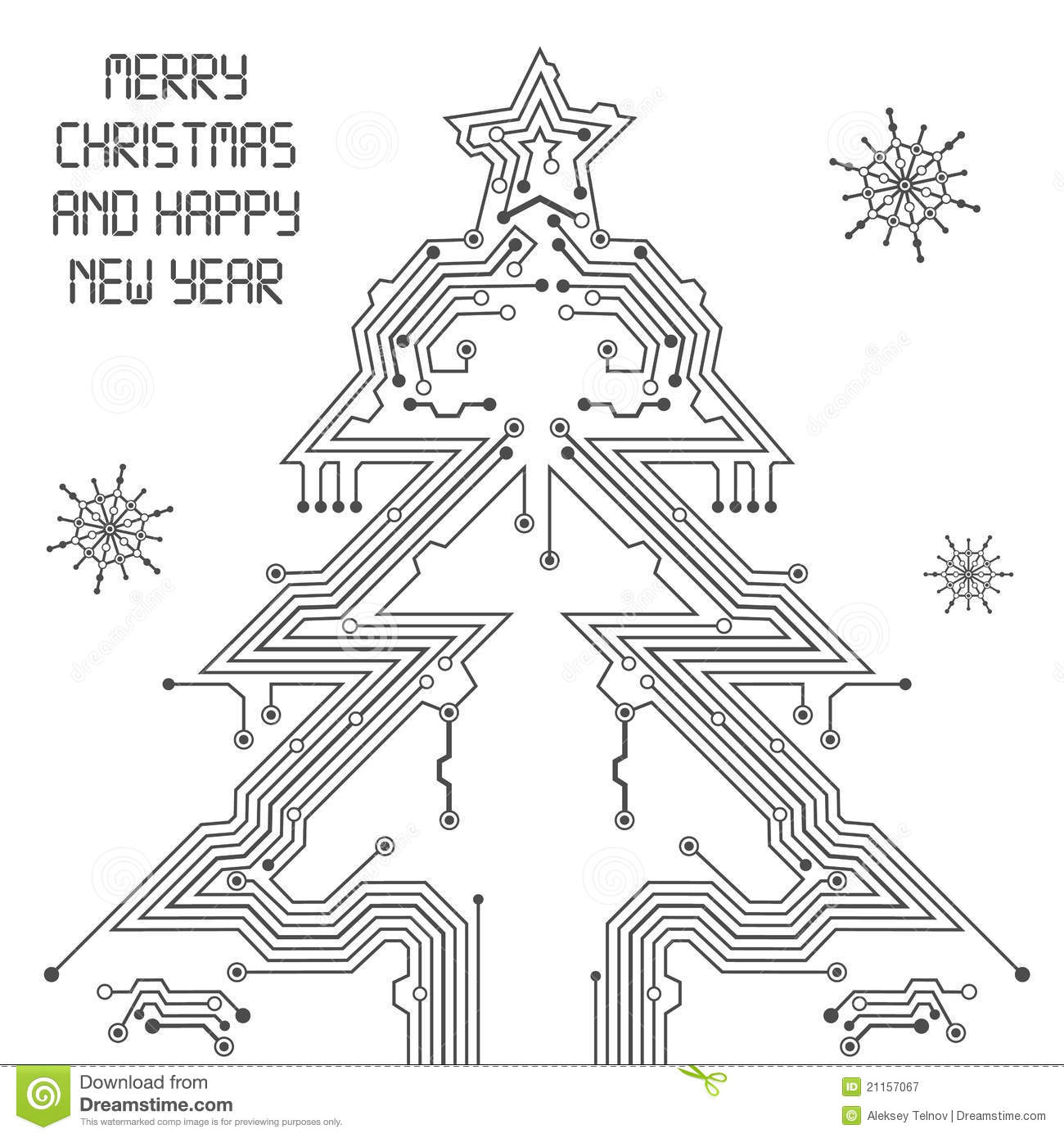 christmas tree from circuit board stock vector