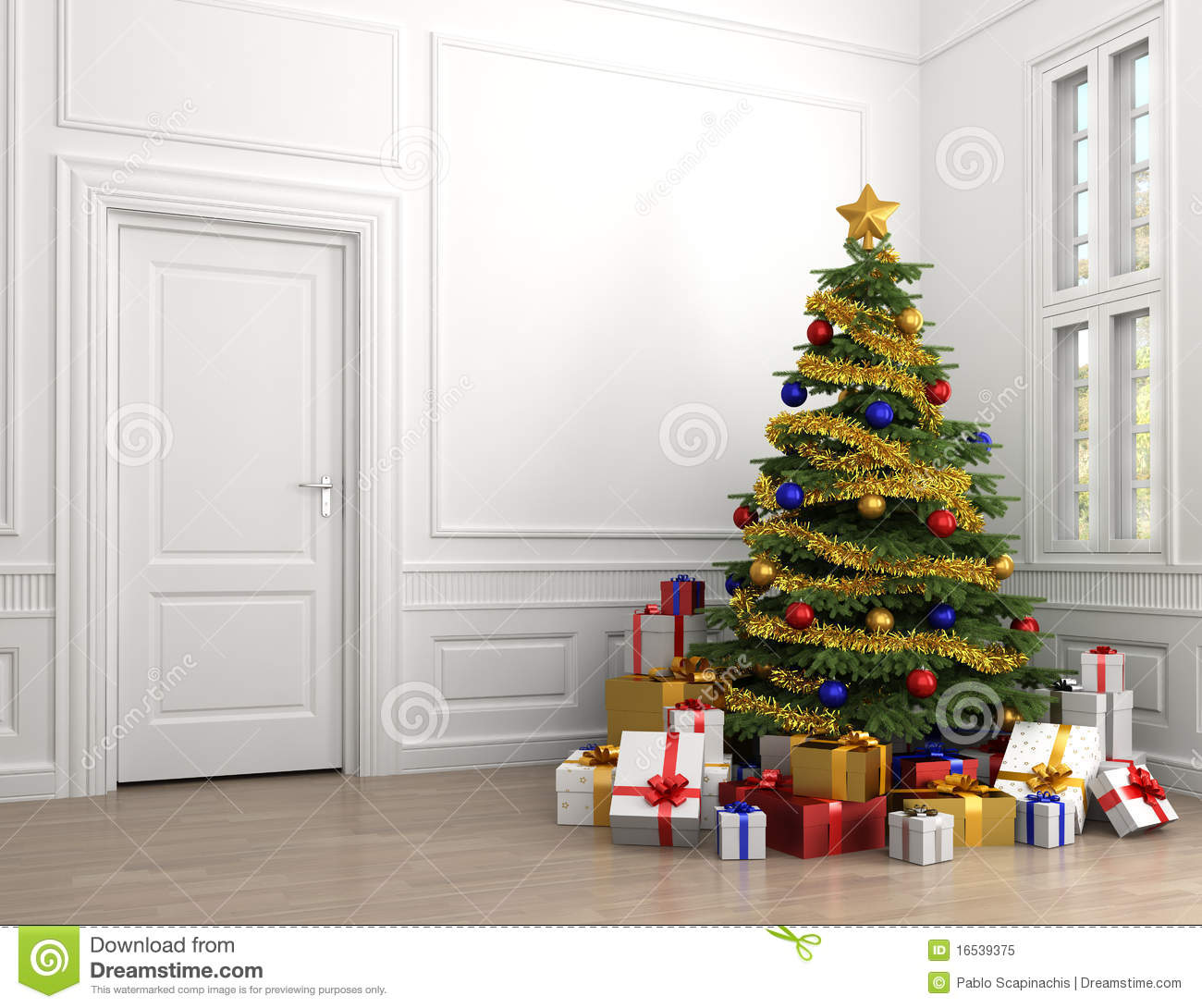 christmas classic copy decorated empty presents room tree .