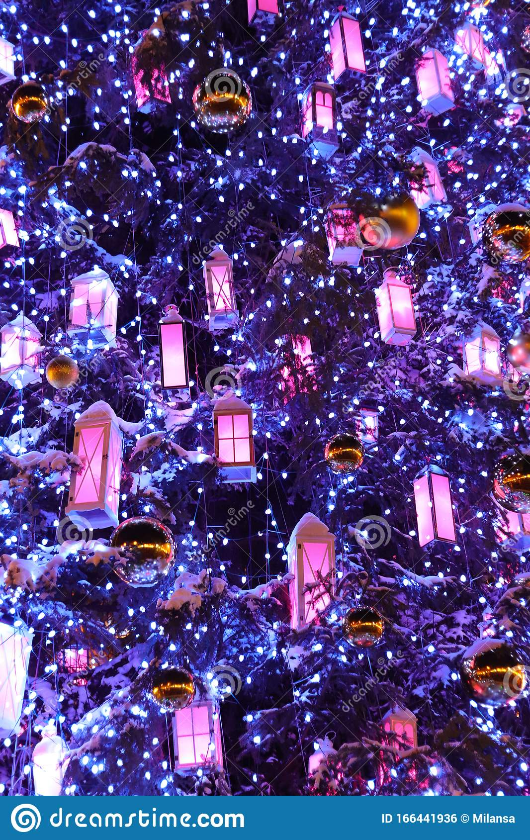 Christmas Tree Closeup Of Phantom Blue Color Background With White Wooden Lanterns Golden Xmas Balls And Lights Stock Photo Image Of City Happy 166441936
