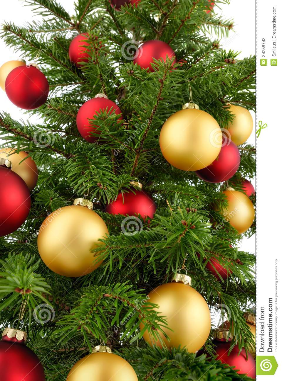 Red And Gold Christmas Tree Ornaments   Christmas Tree Closeup