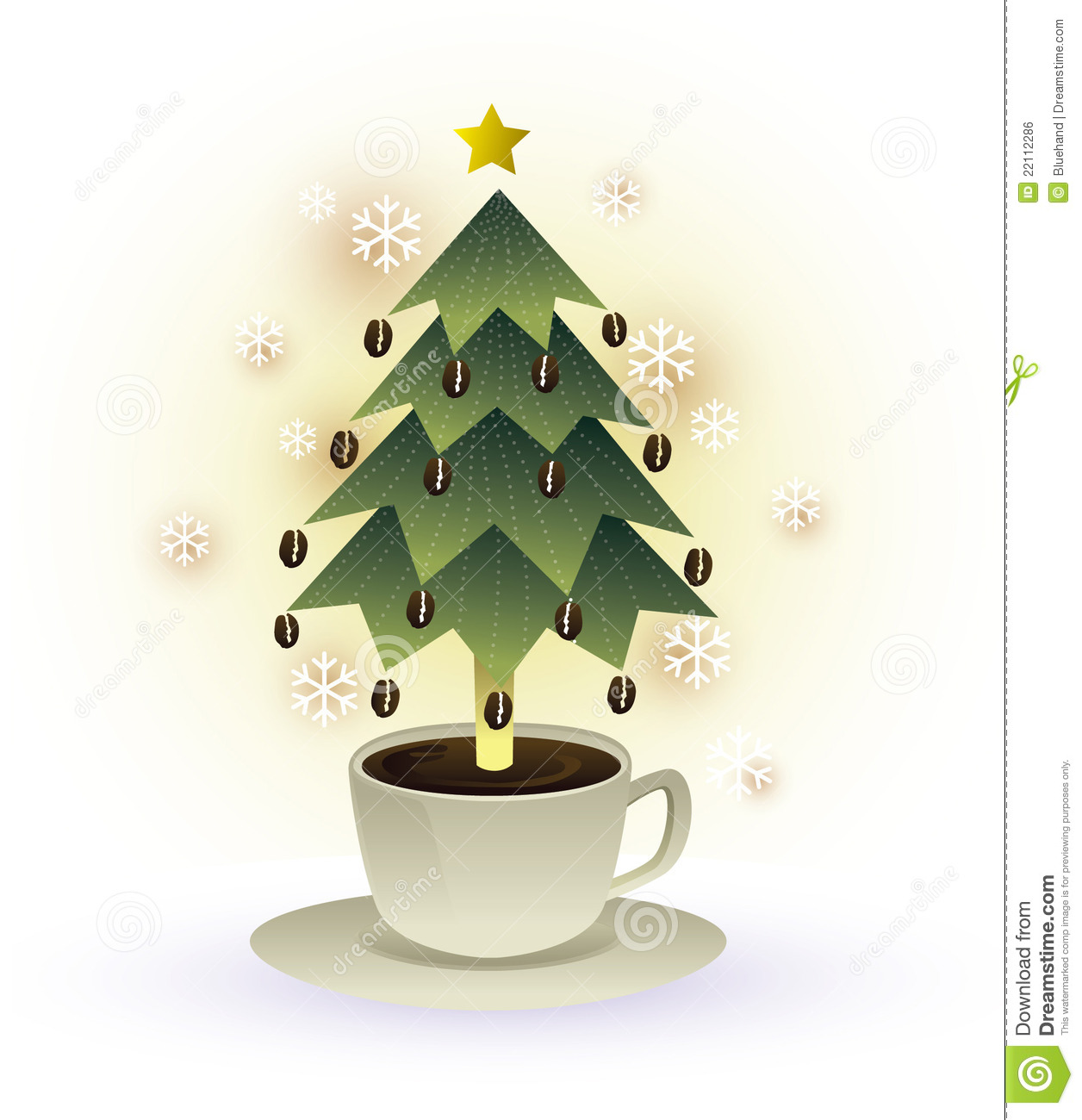 christmas tree coffee cup graphic 22112286 Blue Max Coffee Christmas Card With Hot Cup Of Coffee Stock Image Image