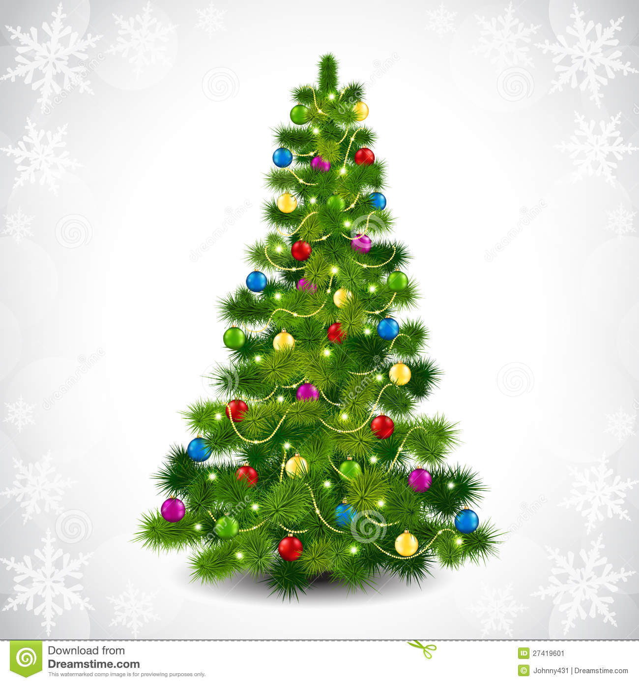 Christmas Tree With Colored Balls Stock Vector - Illustration of ...