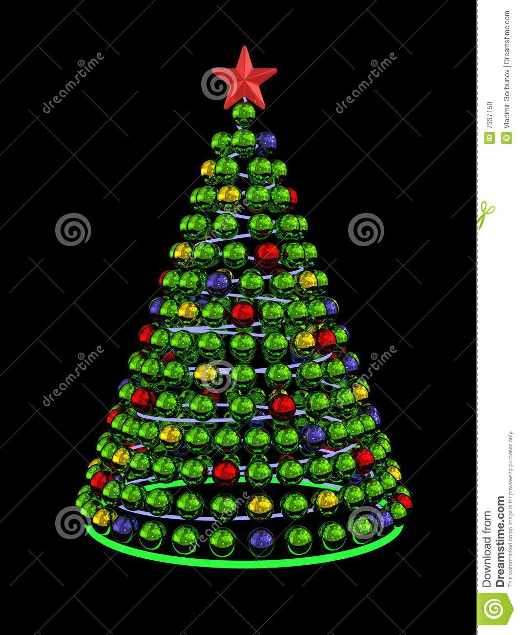 Christmas Tree From Colored Mirror Spheres Stock Illustration ...
