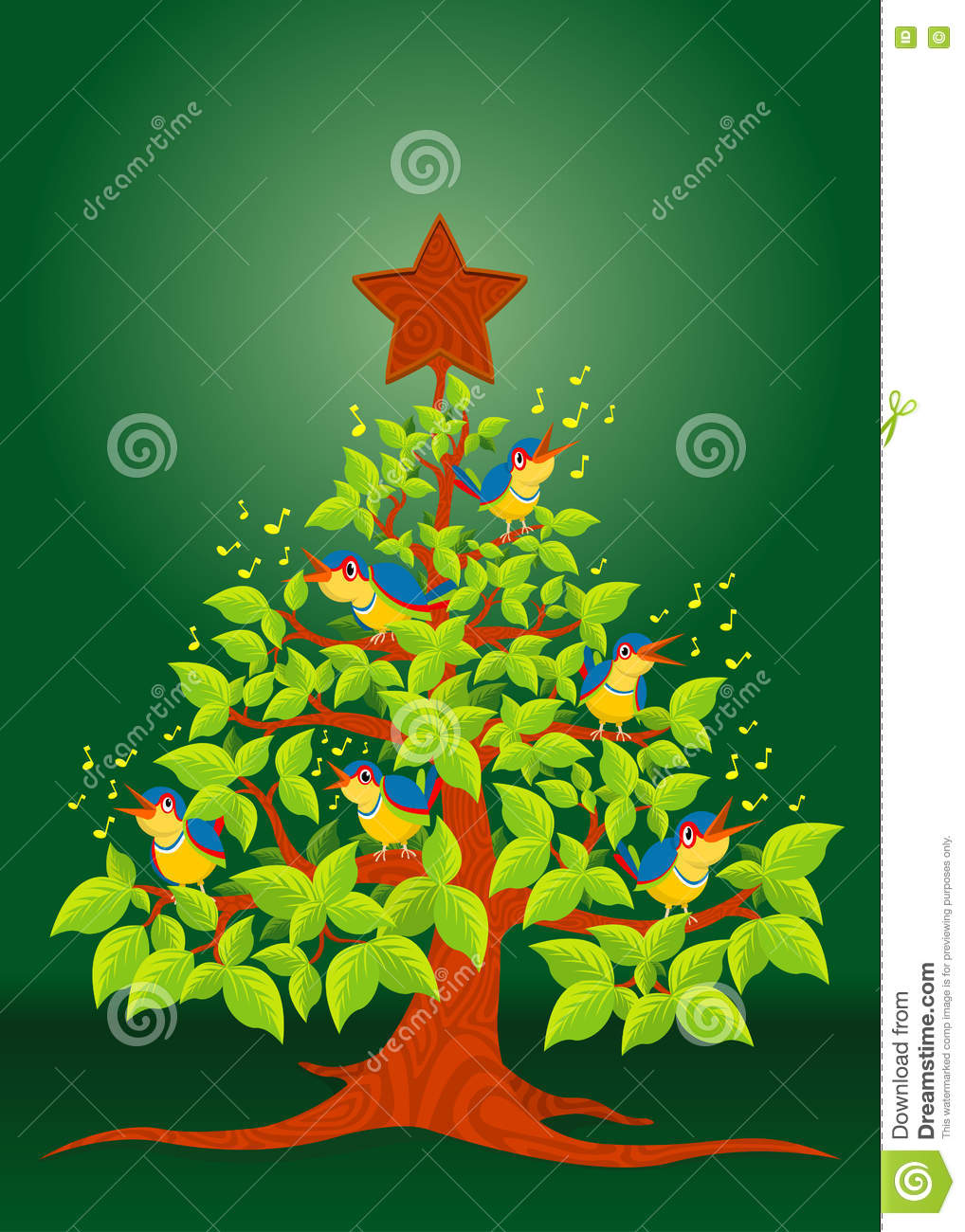 Christmas Tree With Colorful Birds Singing And Wooden Star