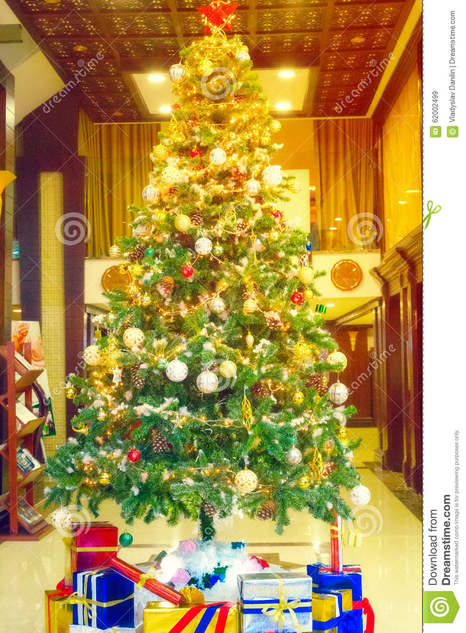 Christmas tree colorful decoration stock photo image for Colorful tree house
