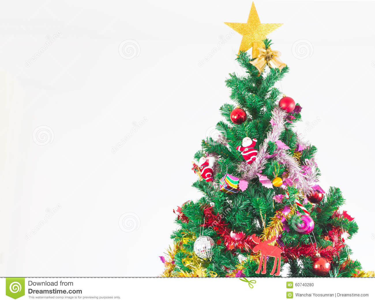 Christmas tree with colorful ornaments stock photo image for Colorful christmas tree decorations