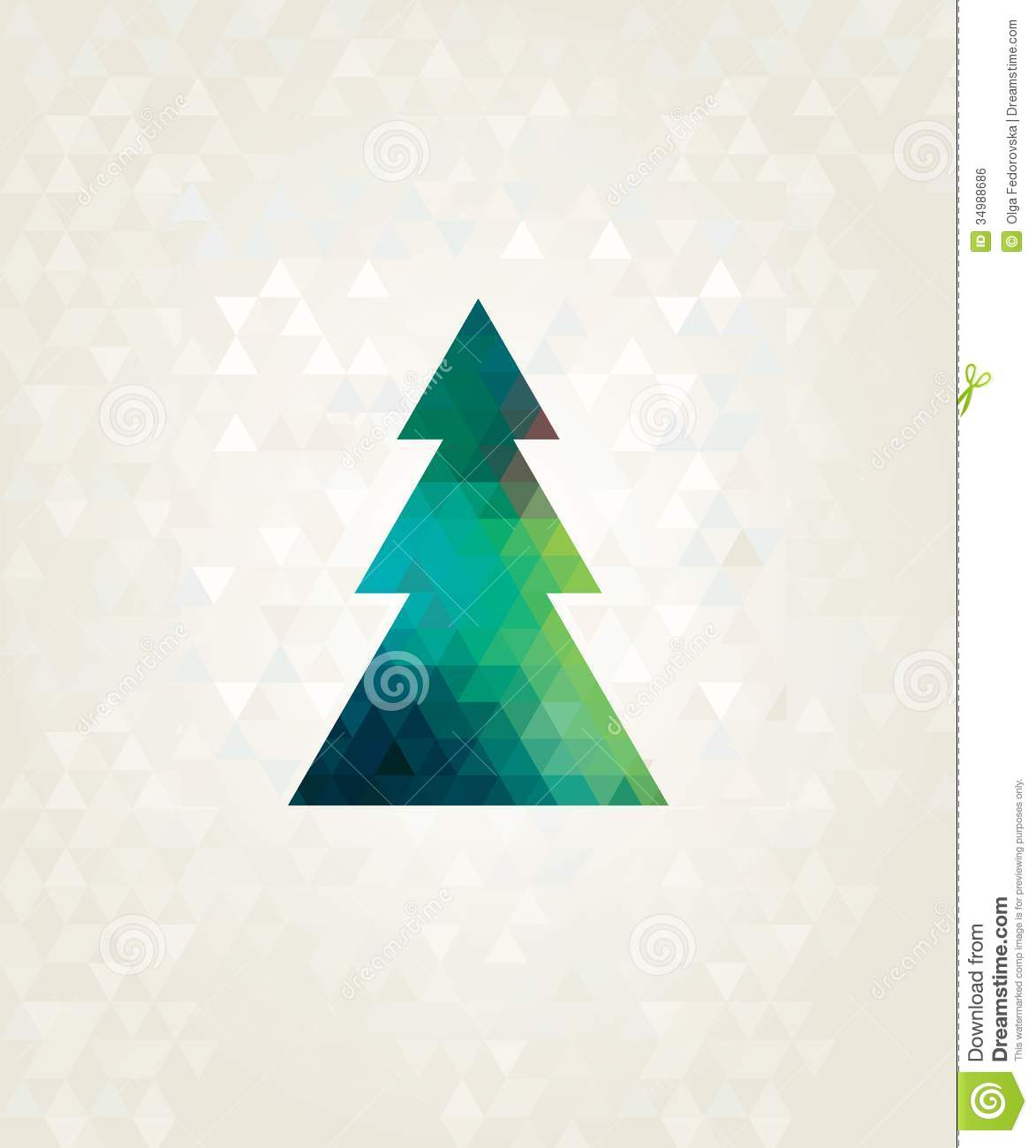 Christmas Tree With Colorful Triangles Royalty Free Stock Image ...
