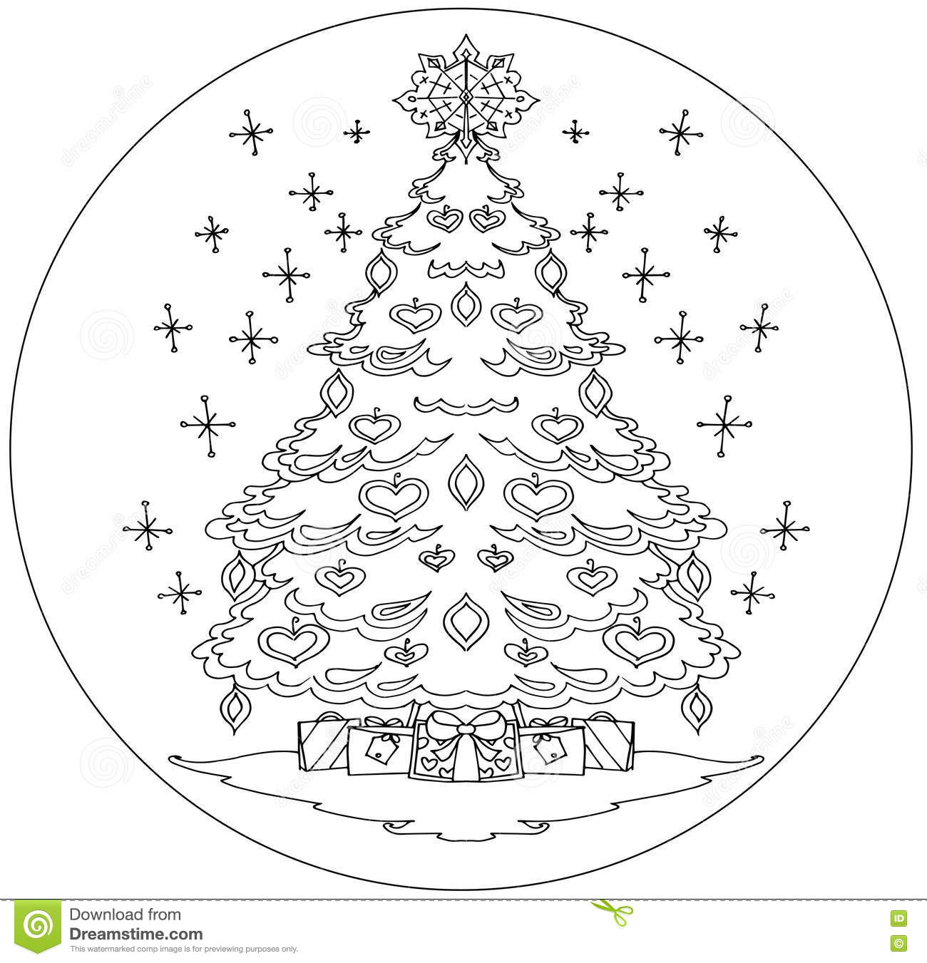 christmas tree coloring mandala