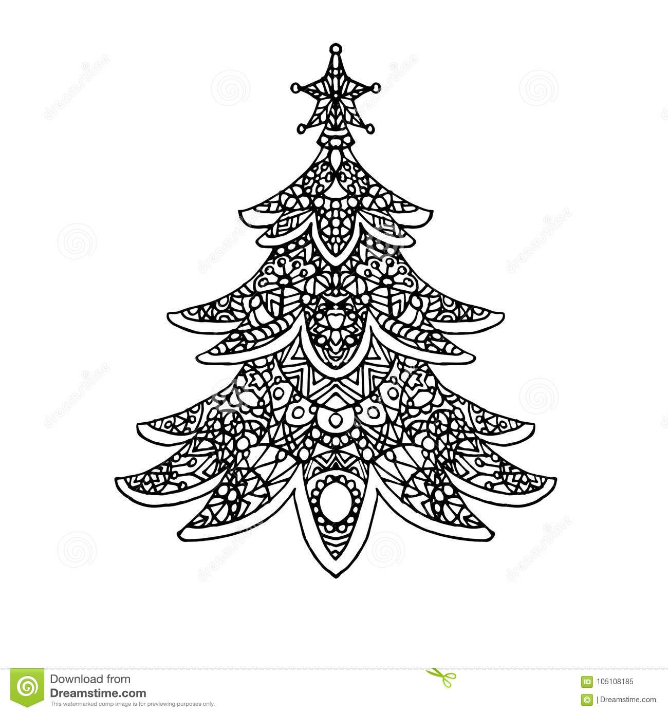 Christmas Tree Coloring Page Stock Illustration - Illustration of ...