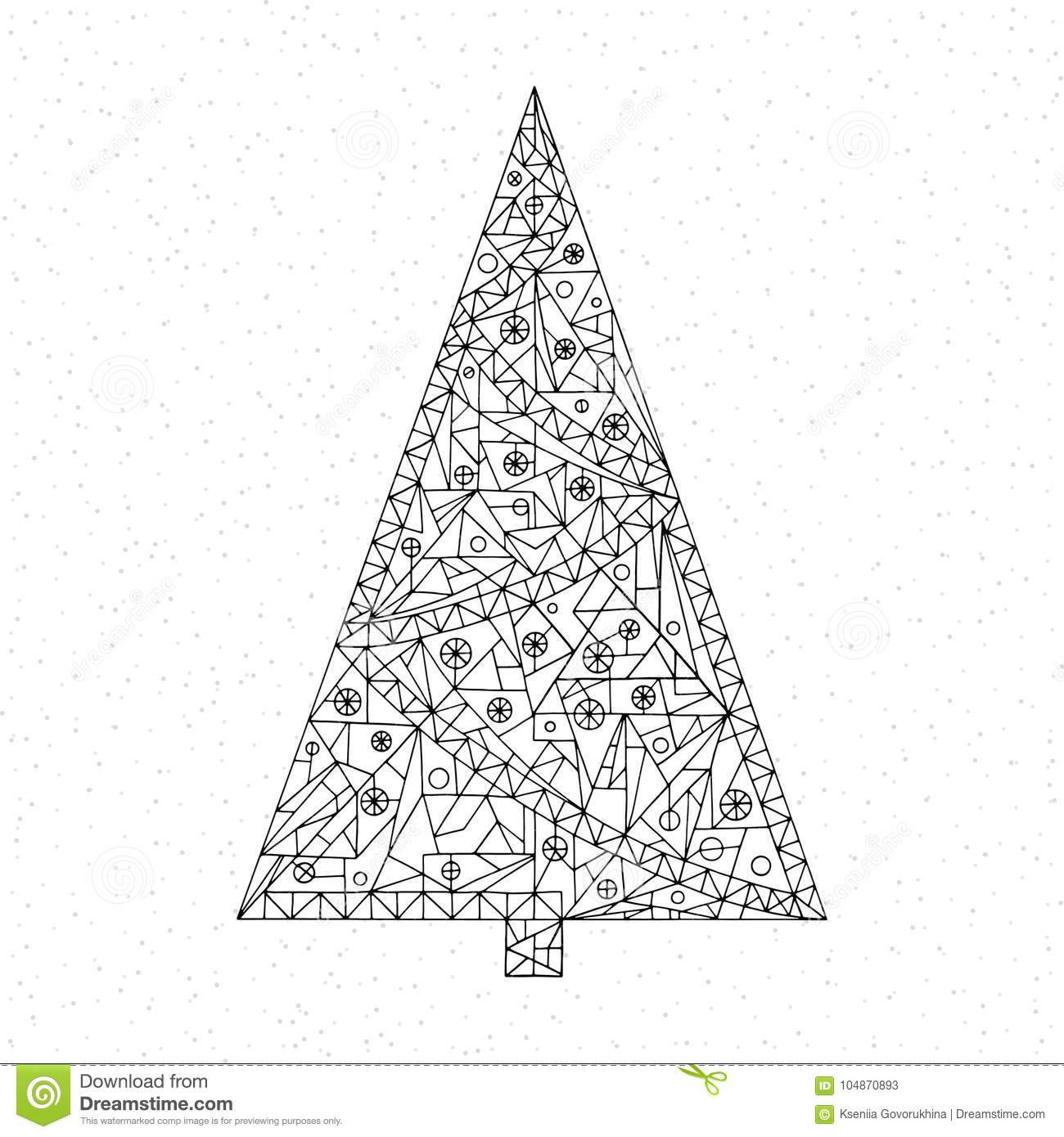 Christmas Tree Coloring Page. Hand Drawn Abstract Winter Holidays ...