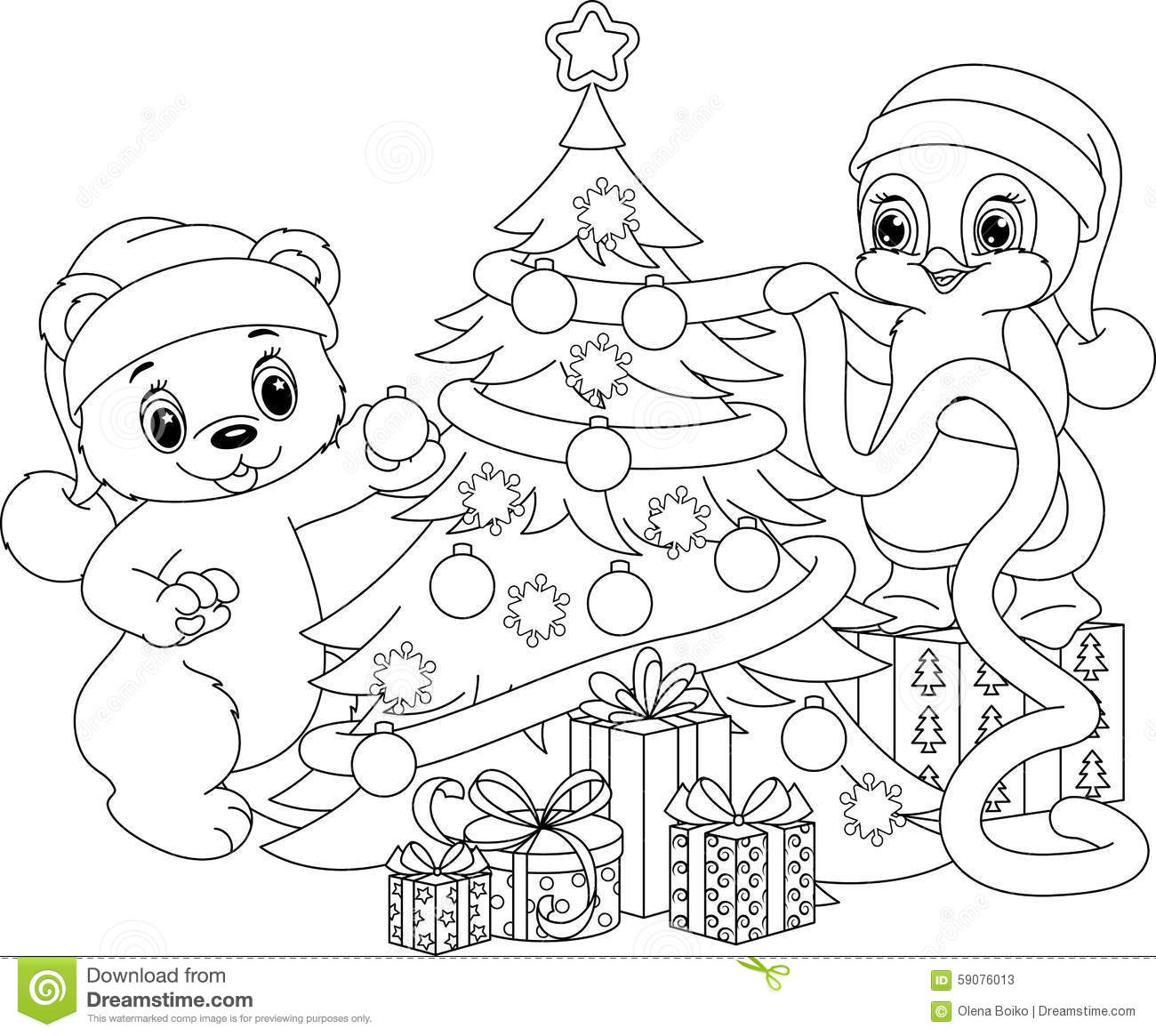 christmas tree coloring page stock vector