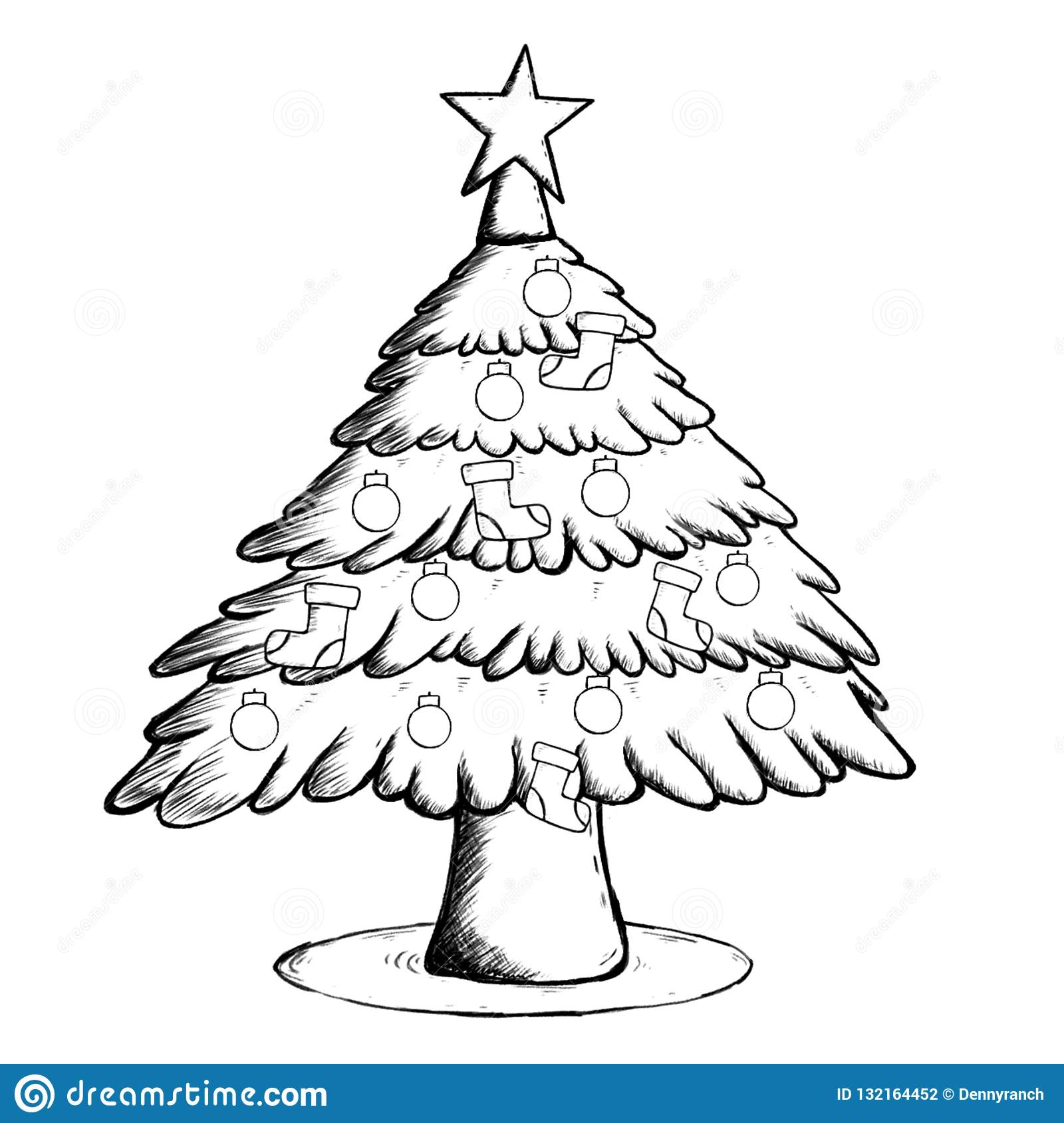 Christmas Tree Coloring Pictures.Christmas Tree Coloring Page Stock Illustration
