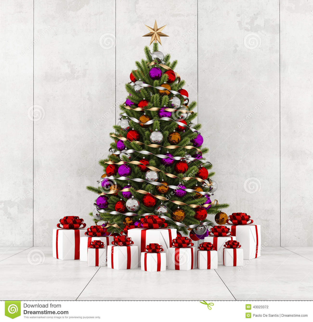 Christmas Tree In A Concrete Room Stock Illustration - Illustration ...