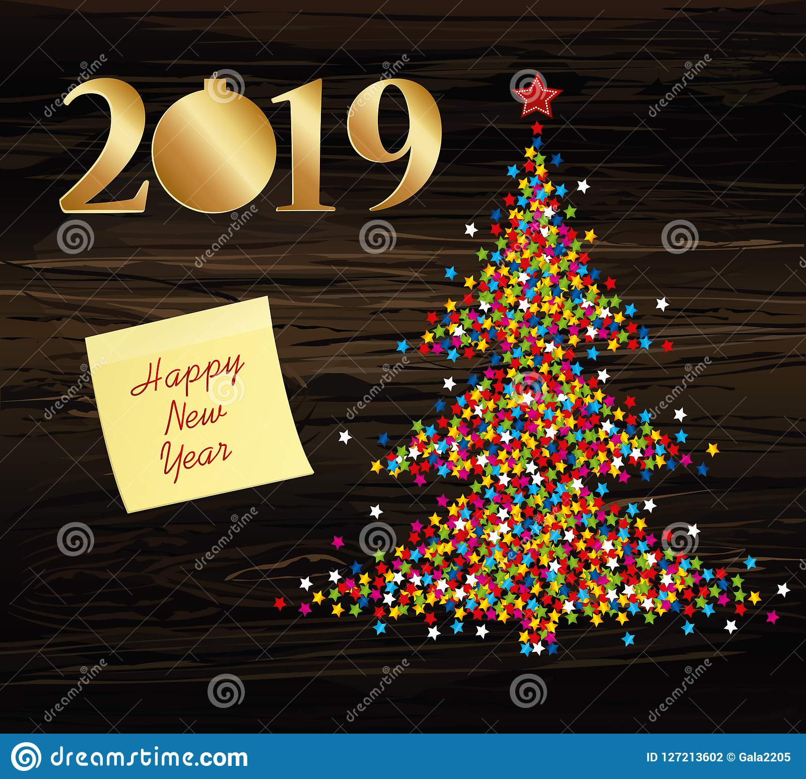 christmas tree of confetti with figures 2019 of paper new year rh dreamstime com