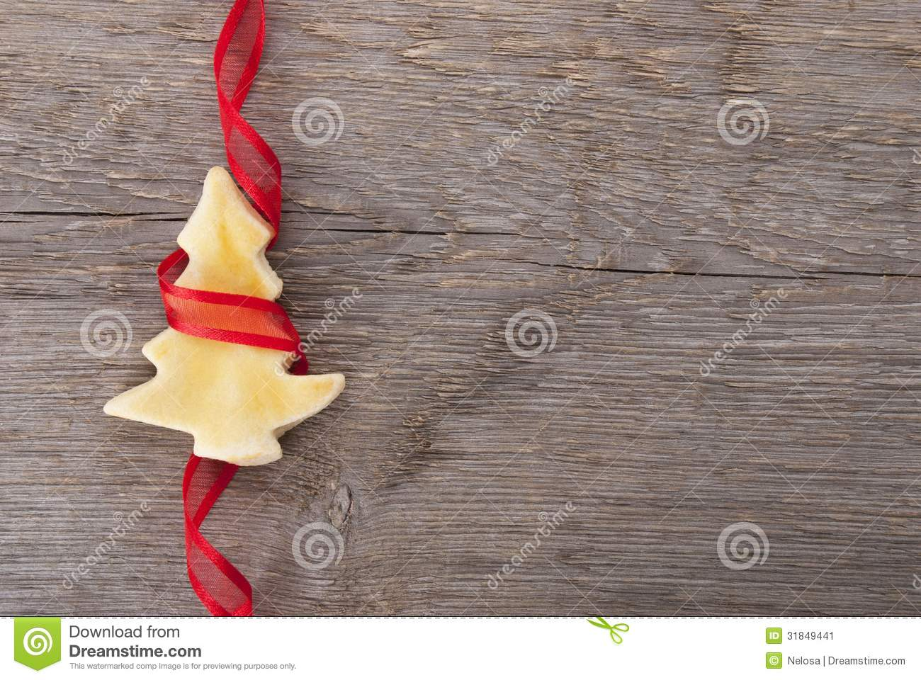 Christmas Tree Cookie With Red Ribbon Stock Image