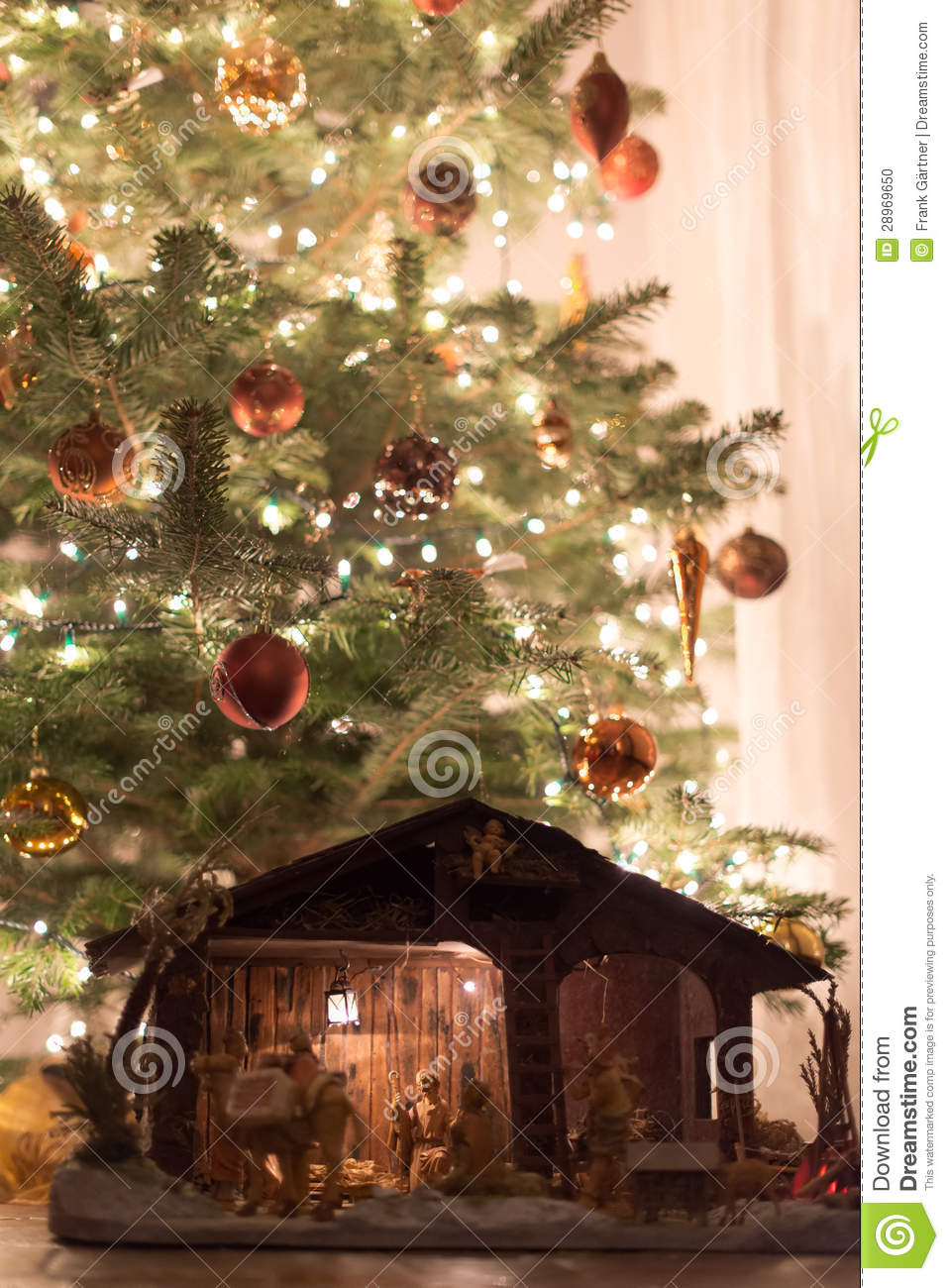 Christmas Tree With Crib Stock Photo Image Of Ancient
