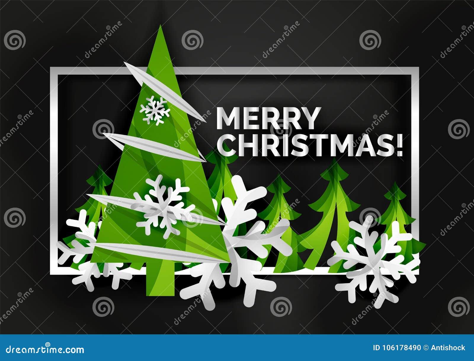 Christmas tree cut paper art modern minimal design stock vector