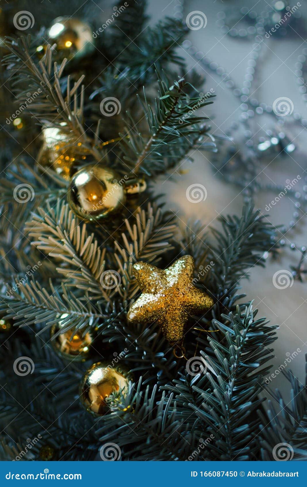Christmas Tree Decor With Golden Ornaments Stock Photo Image Of Christmas Decor 166087450