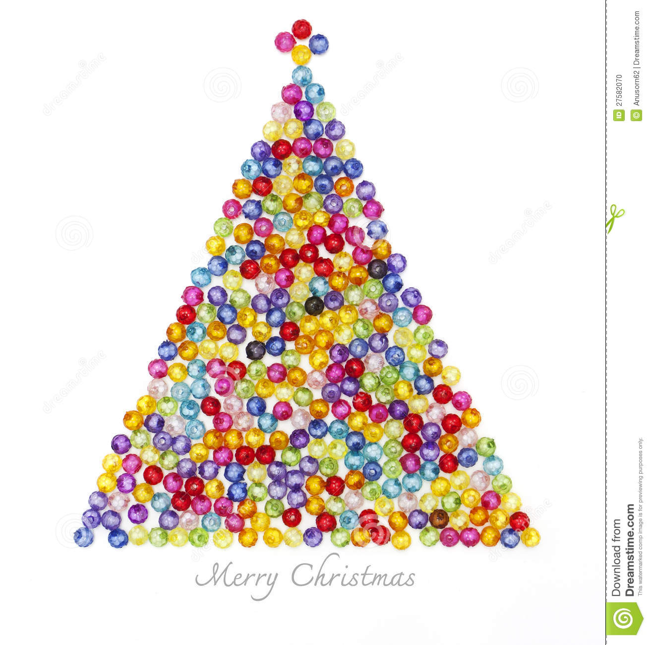 Decorate Christmas Tree With Beads: Christmas Tree Decorate By Colorful Beads Stock Photo