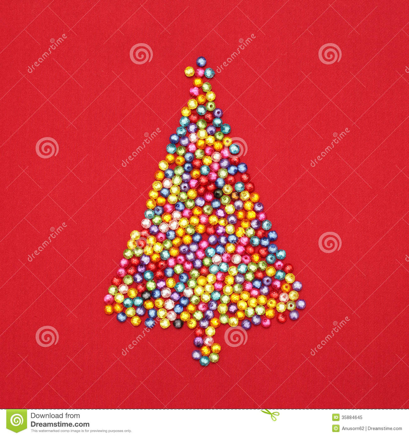 Decorate Christmas Tree With Beads: Christmas Tree Decorate By Colorful Beads On Red Royalty