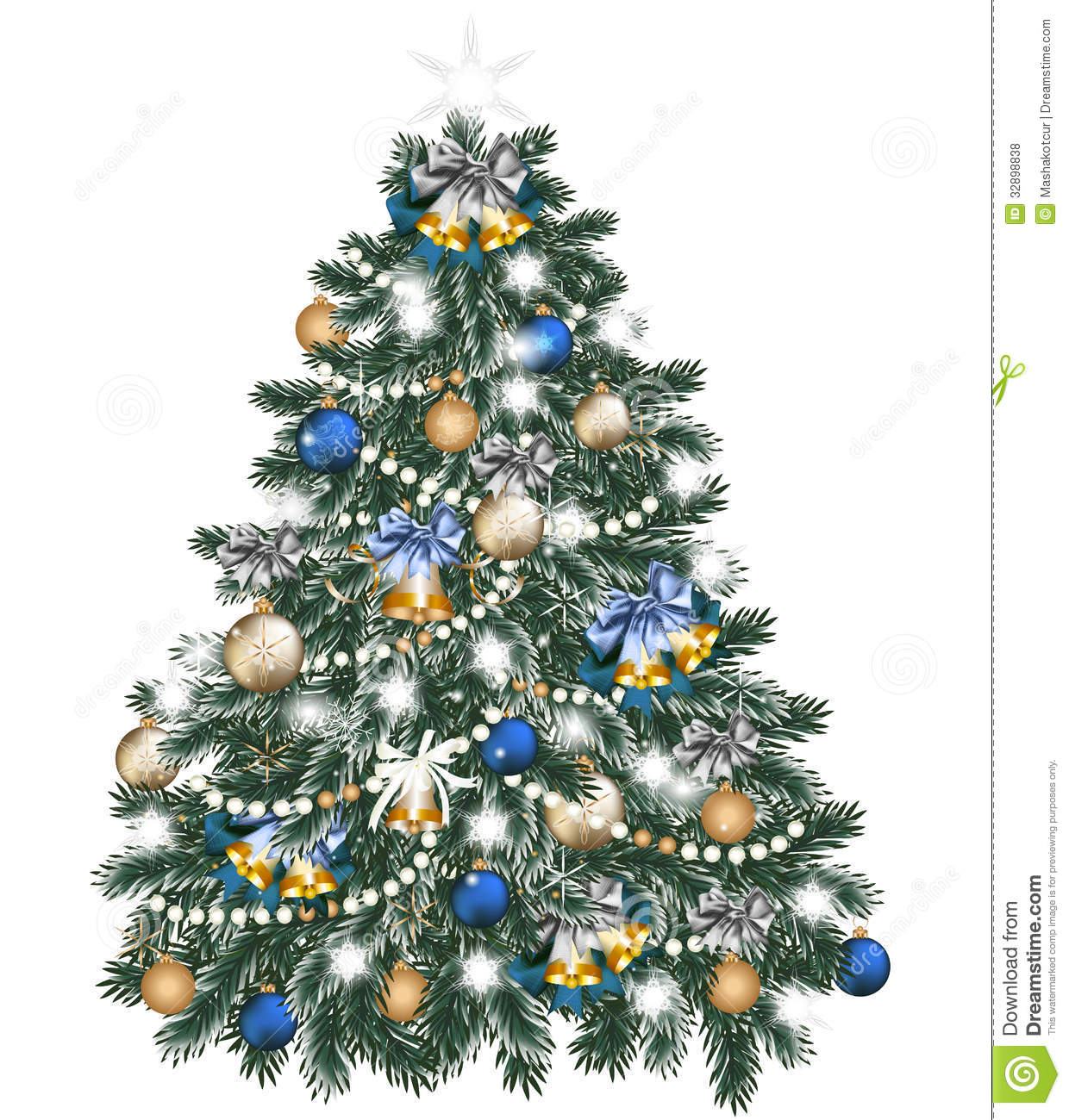 Christmas Tree Decorated By Balls On White Royalty Free Stock ...